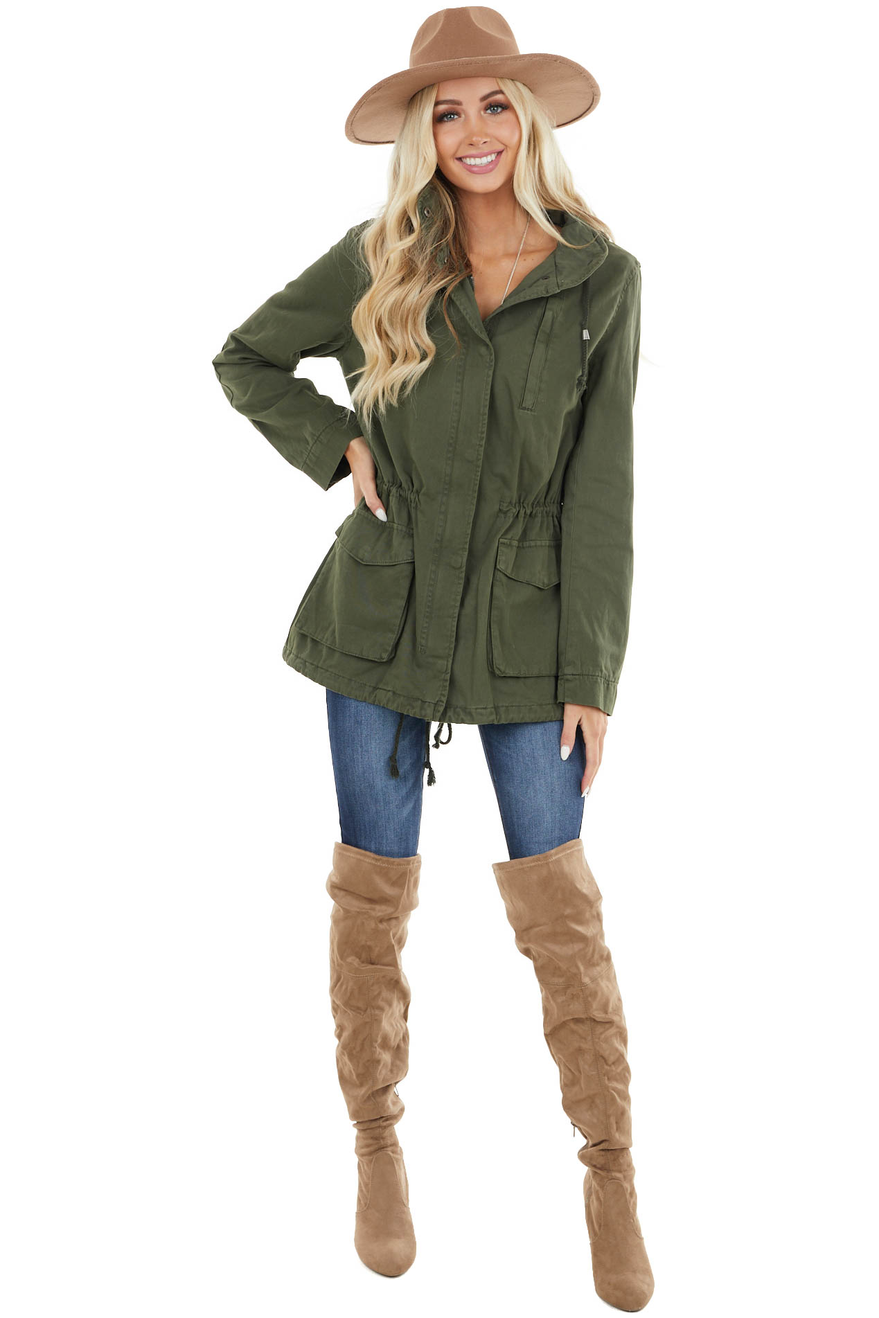 Olive Canvas Jacket with Three Pockets and Concealable Hood