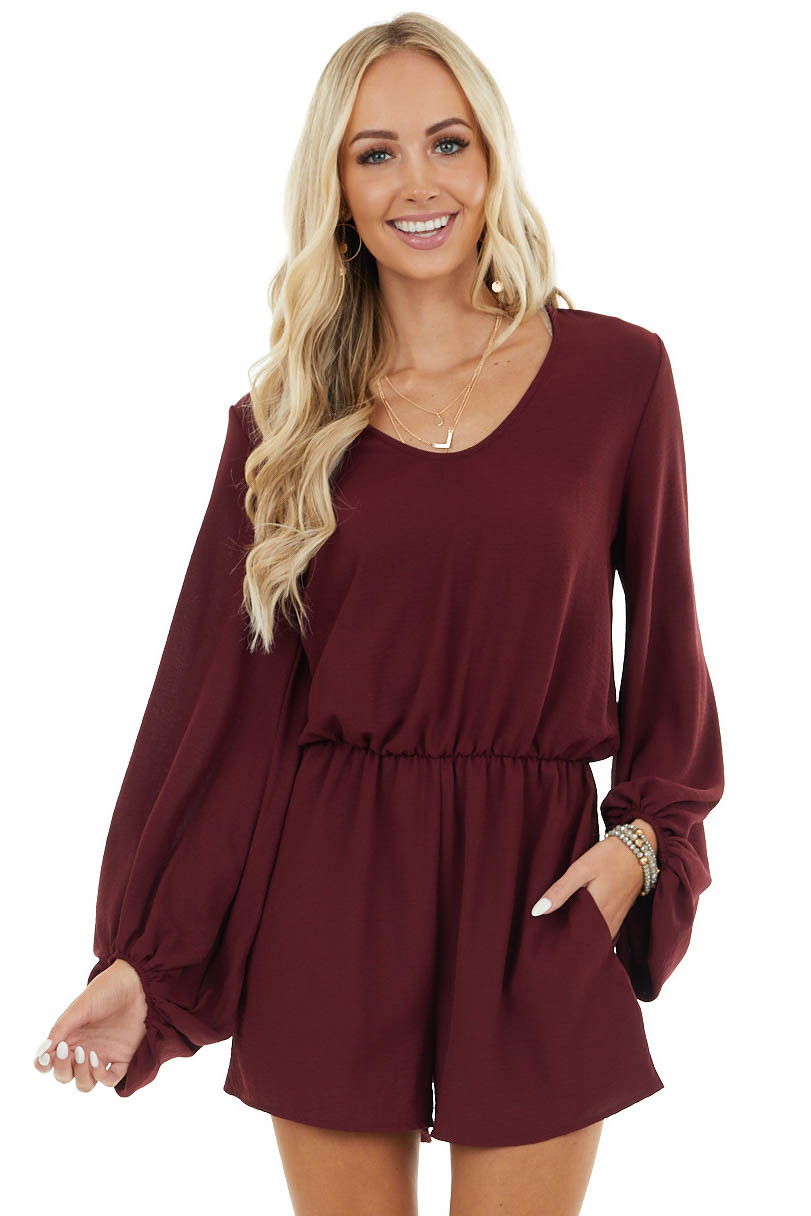 Wine Woven Romper with Long Puff Sleeve and Side Pockets