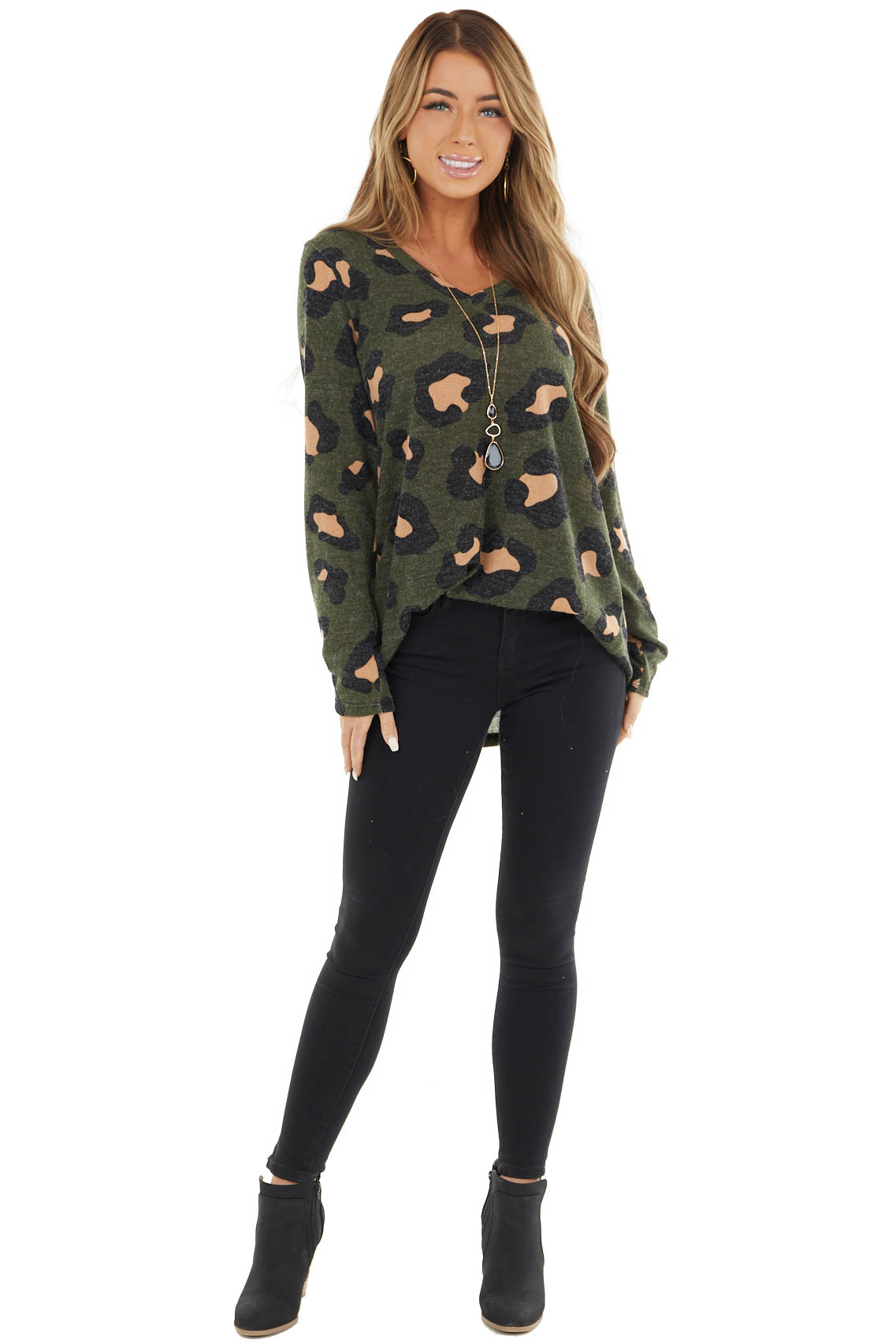 Olive Leopard Print Fuzzy V Neck Top with Long Sleeves