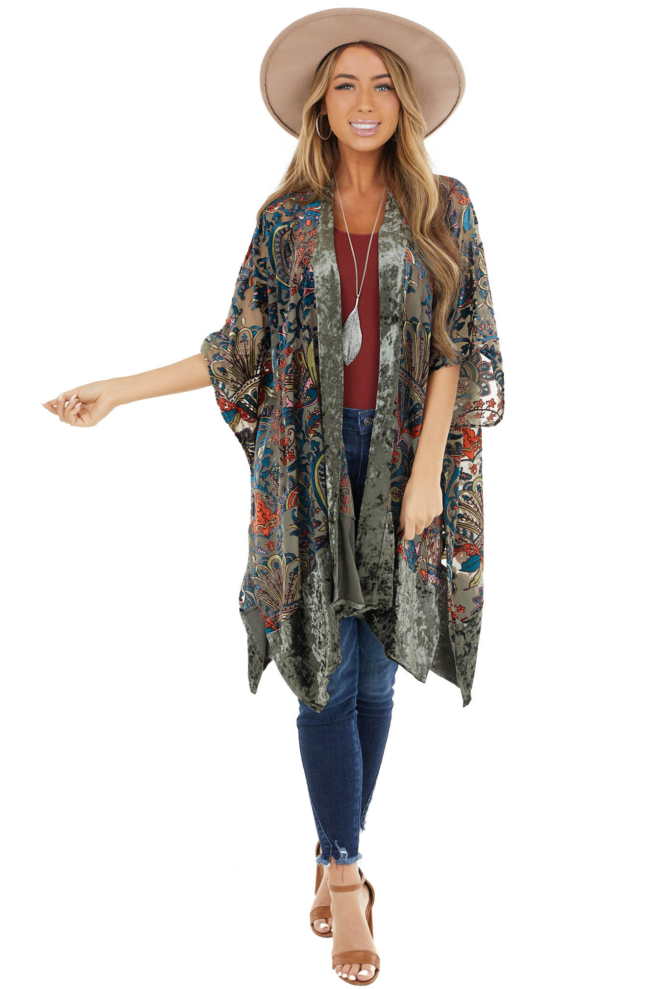 Sage Multicolor Abstract Print Kimono with Velvet Details