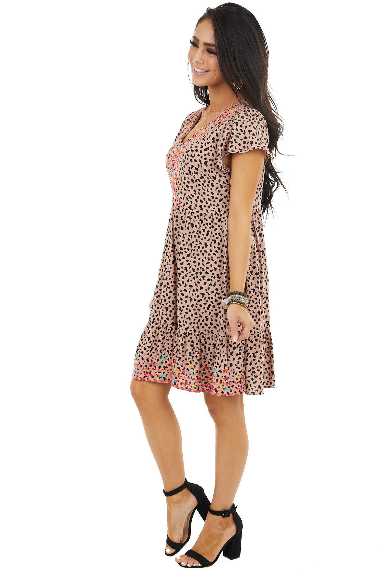 Dusty Peach Leopard Print Babydoll Dress With Embroidery