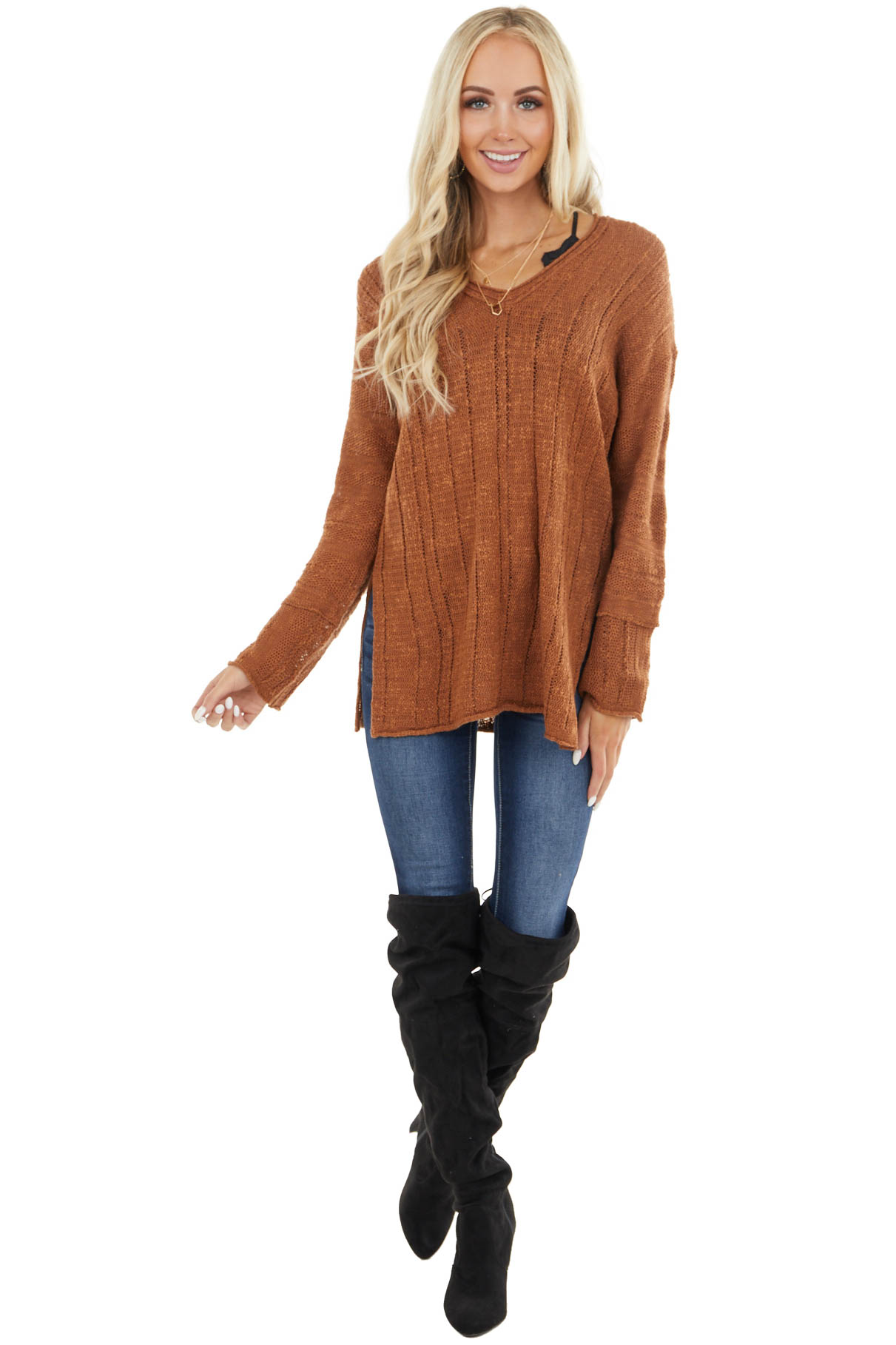 Gingerbread Loose Knit Textured Stripe Long Sleeve Top