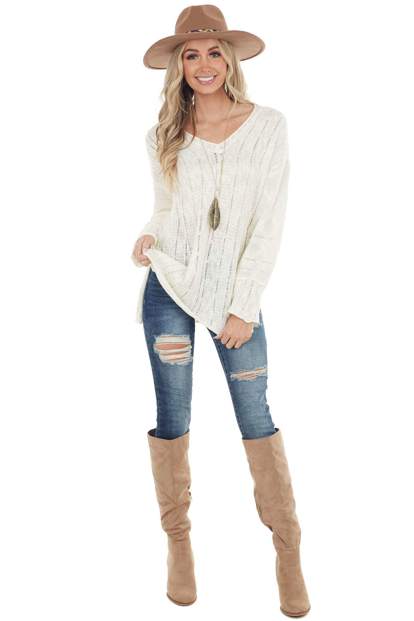 Ivory Loose Knit Textured Stripe Long Sleeve Top