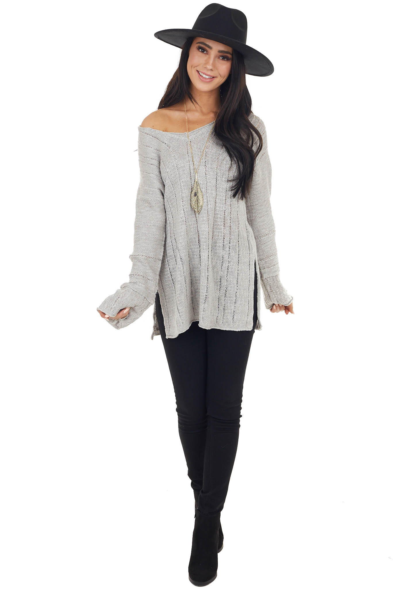 Dove Grey Loose Knit Textured Stripe Long Sleeve Top