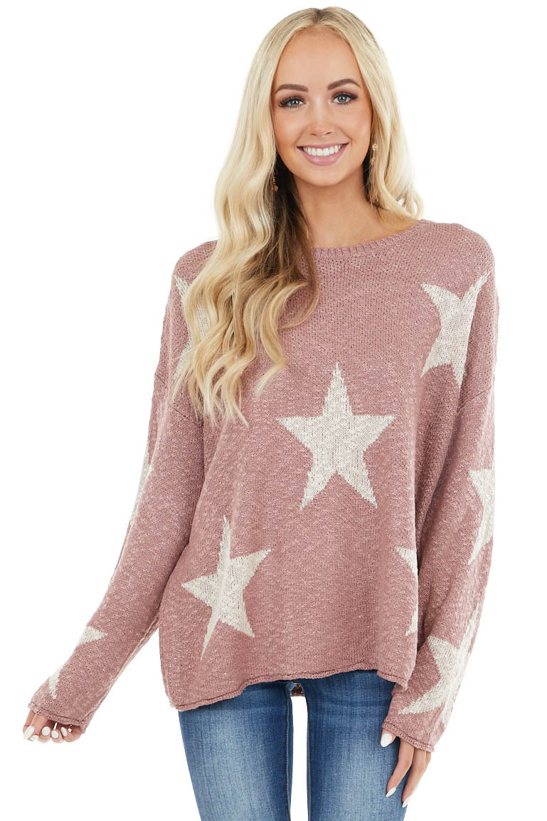 Mauve Star Print Long Sleeve Knit Sweater with Rounded Neck