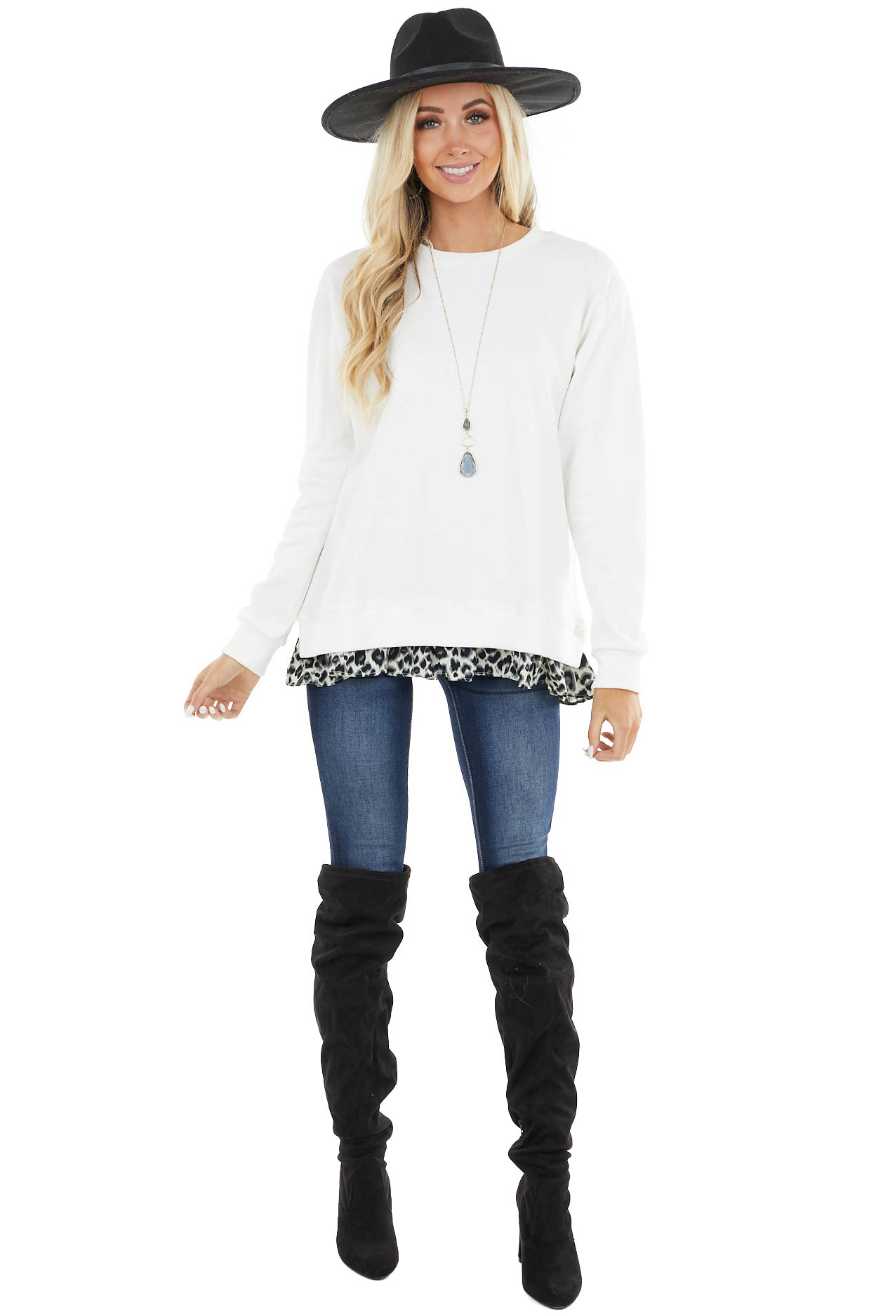Ivory Knit Sweatshirt with Grey Leopard Hemline Contrast