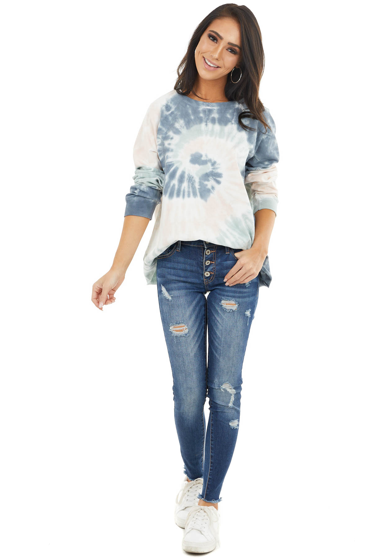 Charcoal and Blush Tie Dye Pullover Top with Long Sleeves