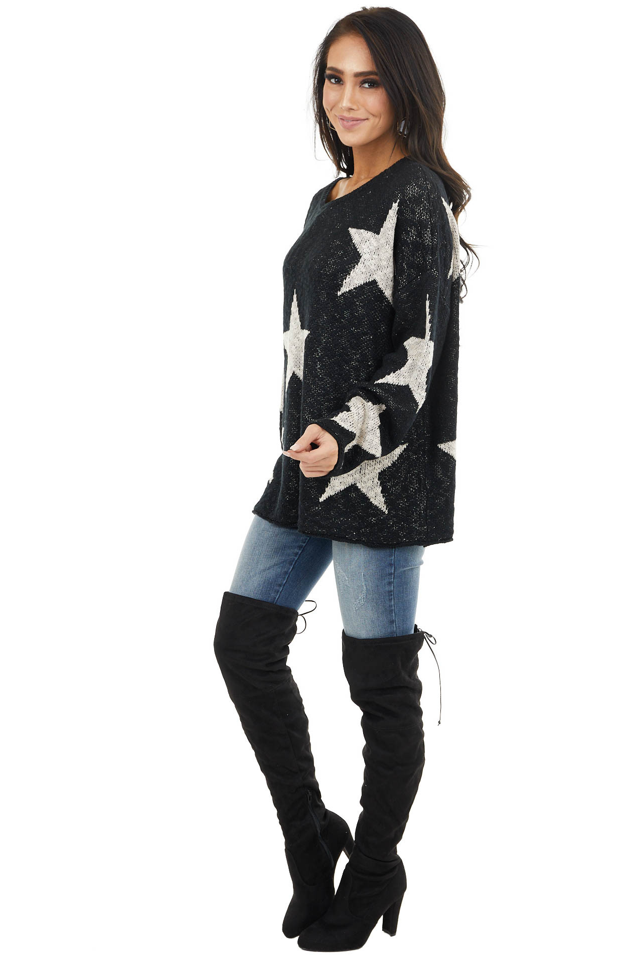 Black Star Print Long Sleeve Knit Sweater with Rounded Neck