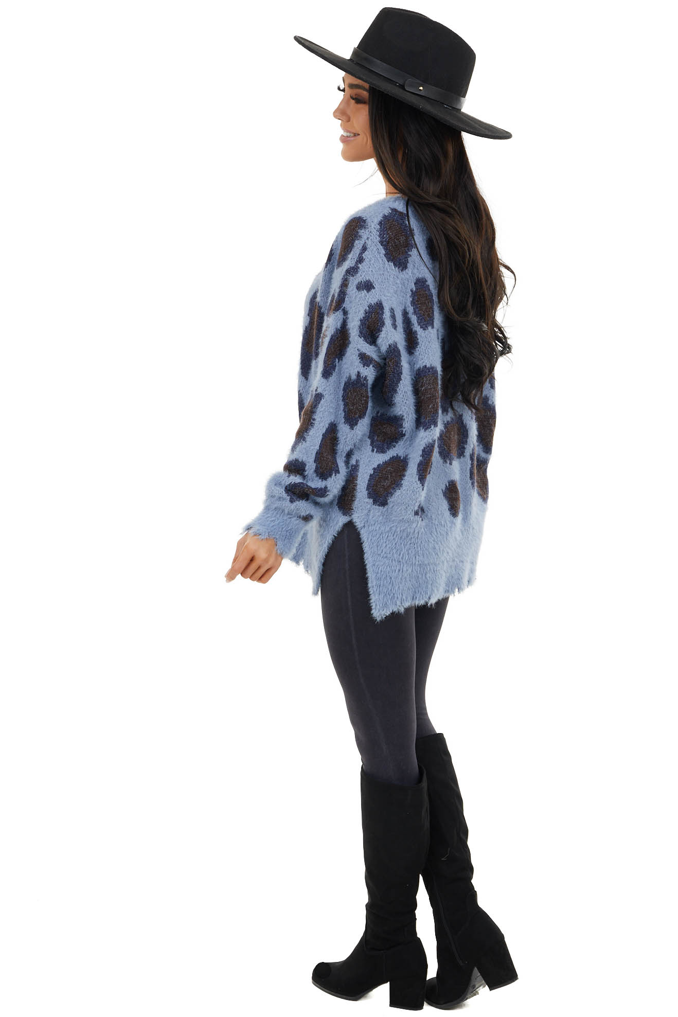 Blue Leopard Print Fuzzy Long Sleeve Sweater with V Neck