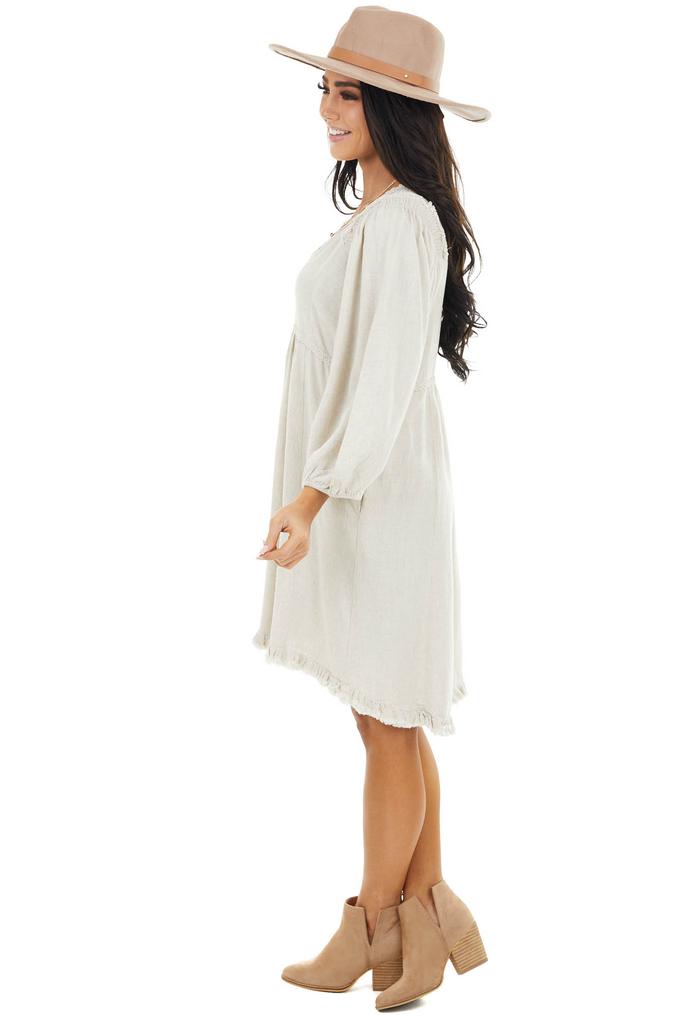 Oatmeal Baby Doll Dress with Bubble Sleeves and Frayed Hem