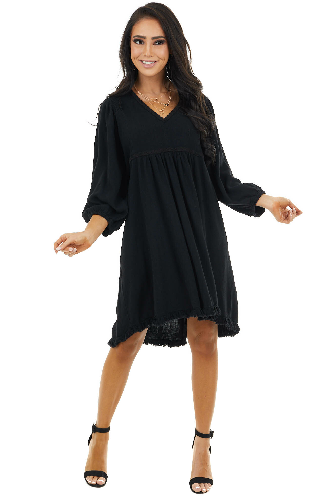 Black Baby Doll Dress with Bubble Sleeves and Frayed Hem