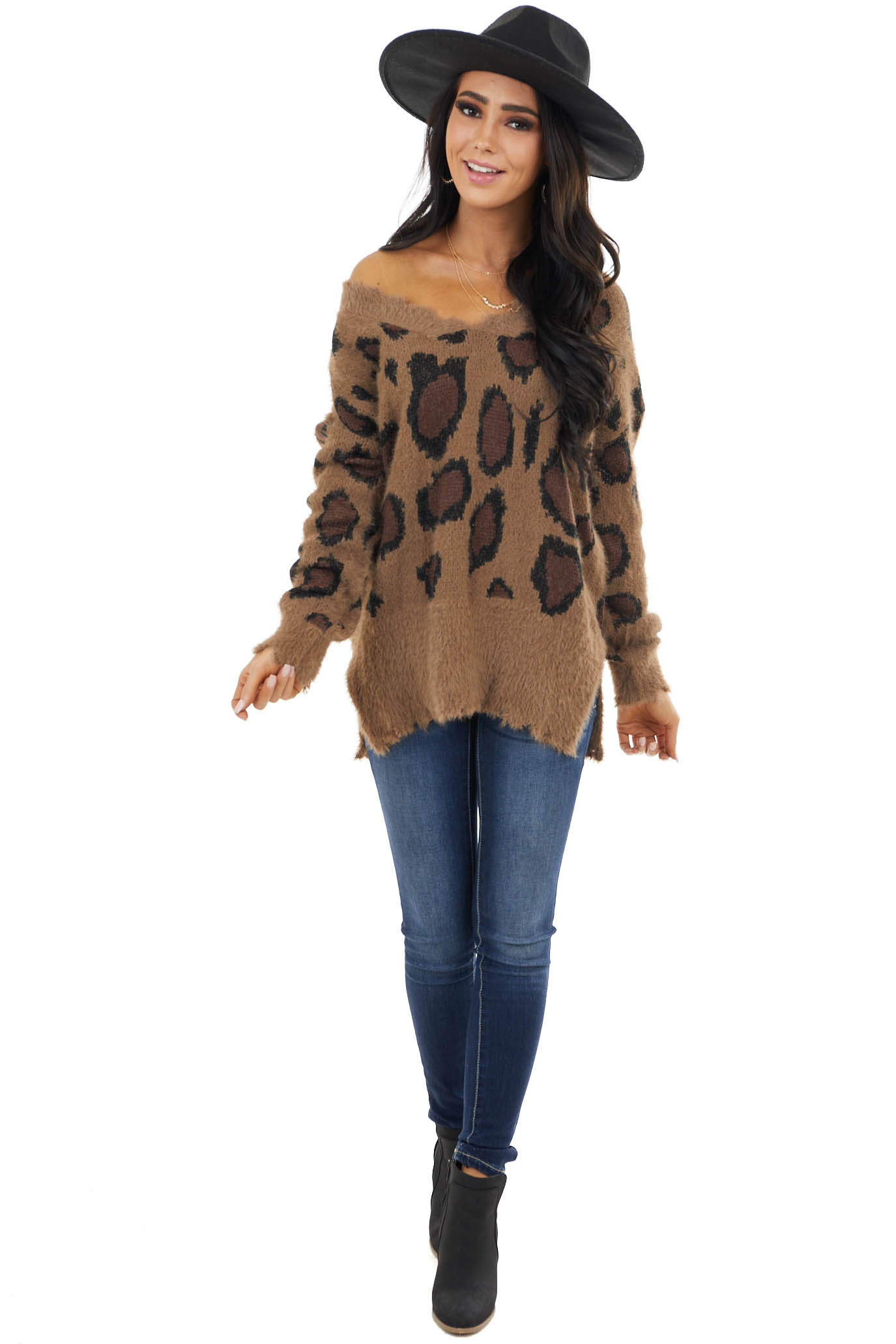 Camel Leopard Print Fuzzy Long Sleeve Sweater with V Neck