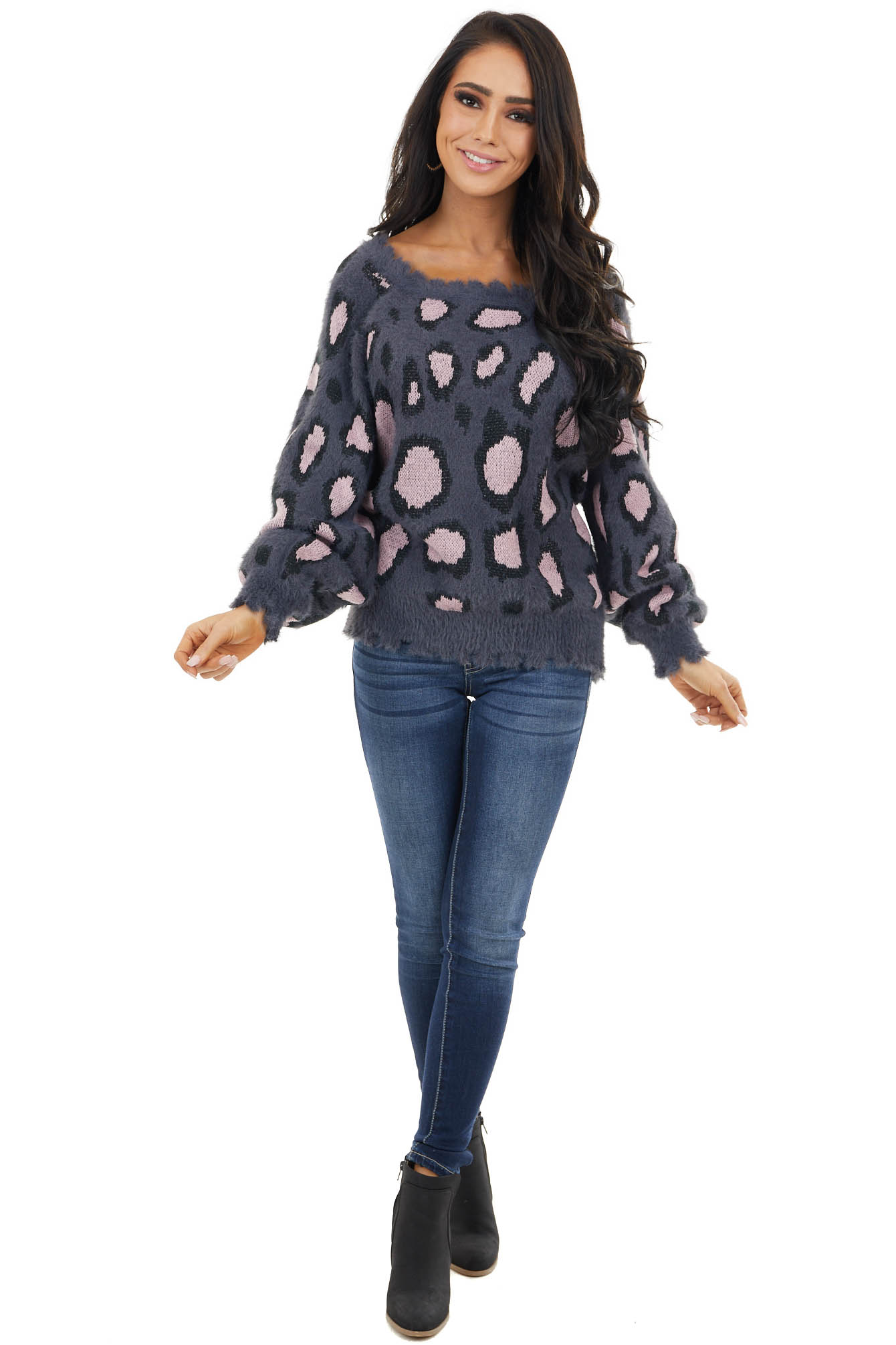 Charcoal and Blush Leopard Print Fuzzy Knit Sweater
