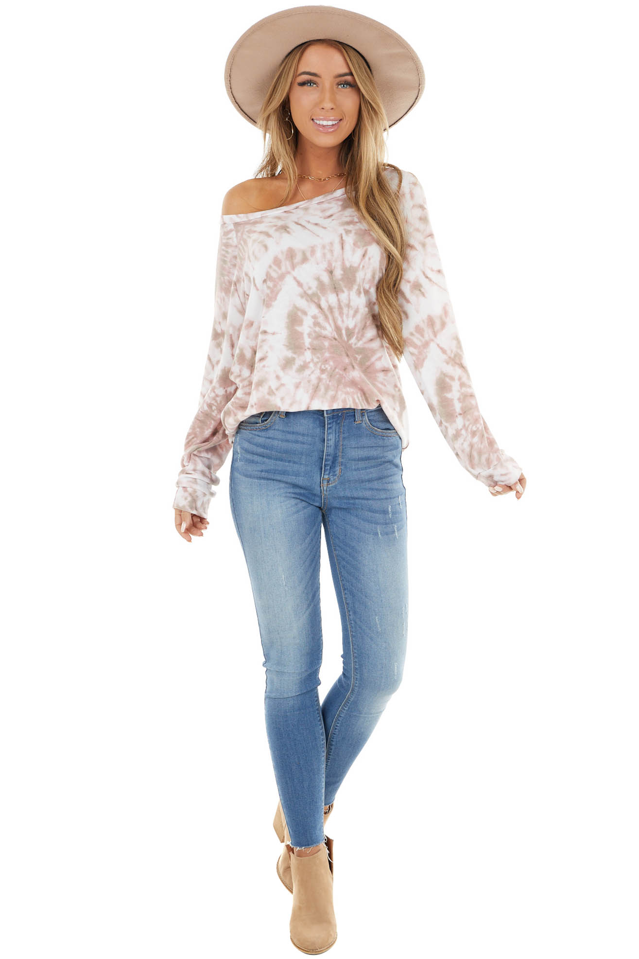 Dusty Rose Tie Dye Pullover Top With Long Sleeves