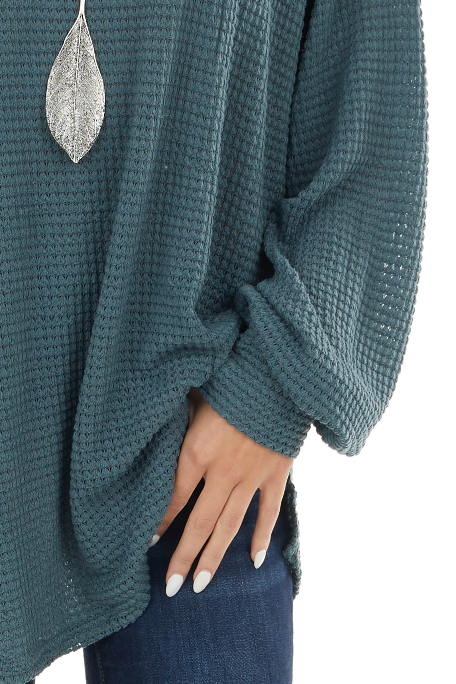 Dark Teal Oversized Waffle Knit Top with Bubble Sleeves