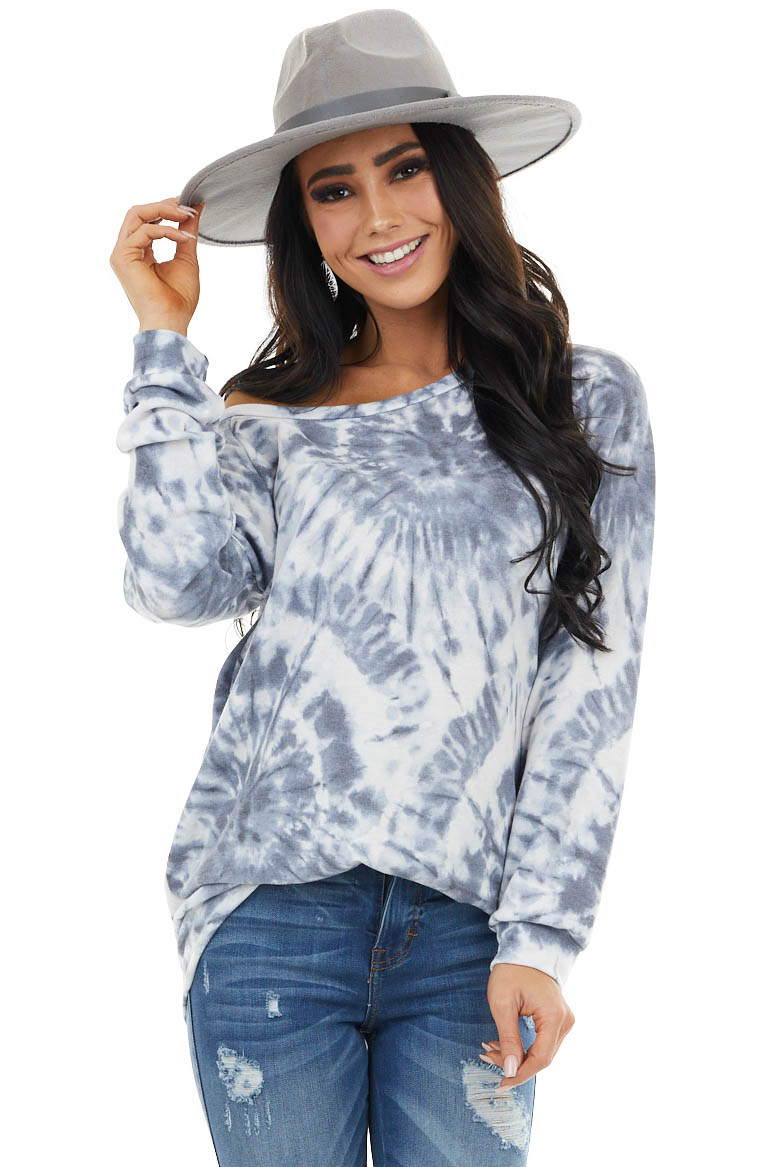 Charcoal Grey Tie Dye Pullover Top With Long Sleeves