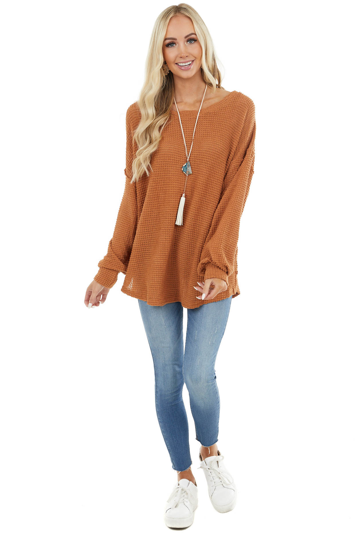 Caramel Oversized Waffle Knit Top with Bubble Sleeves
