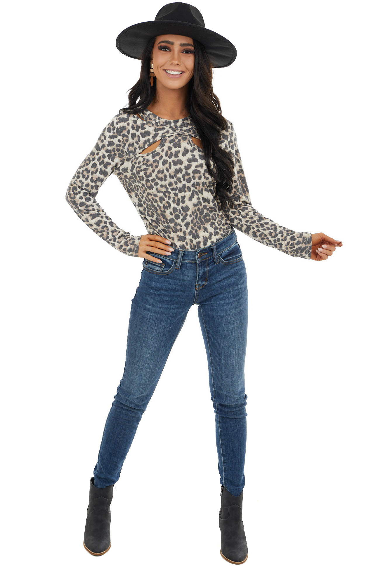Beige Leopard Print Knit Long Sleeve Top with Cutout Neck