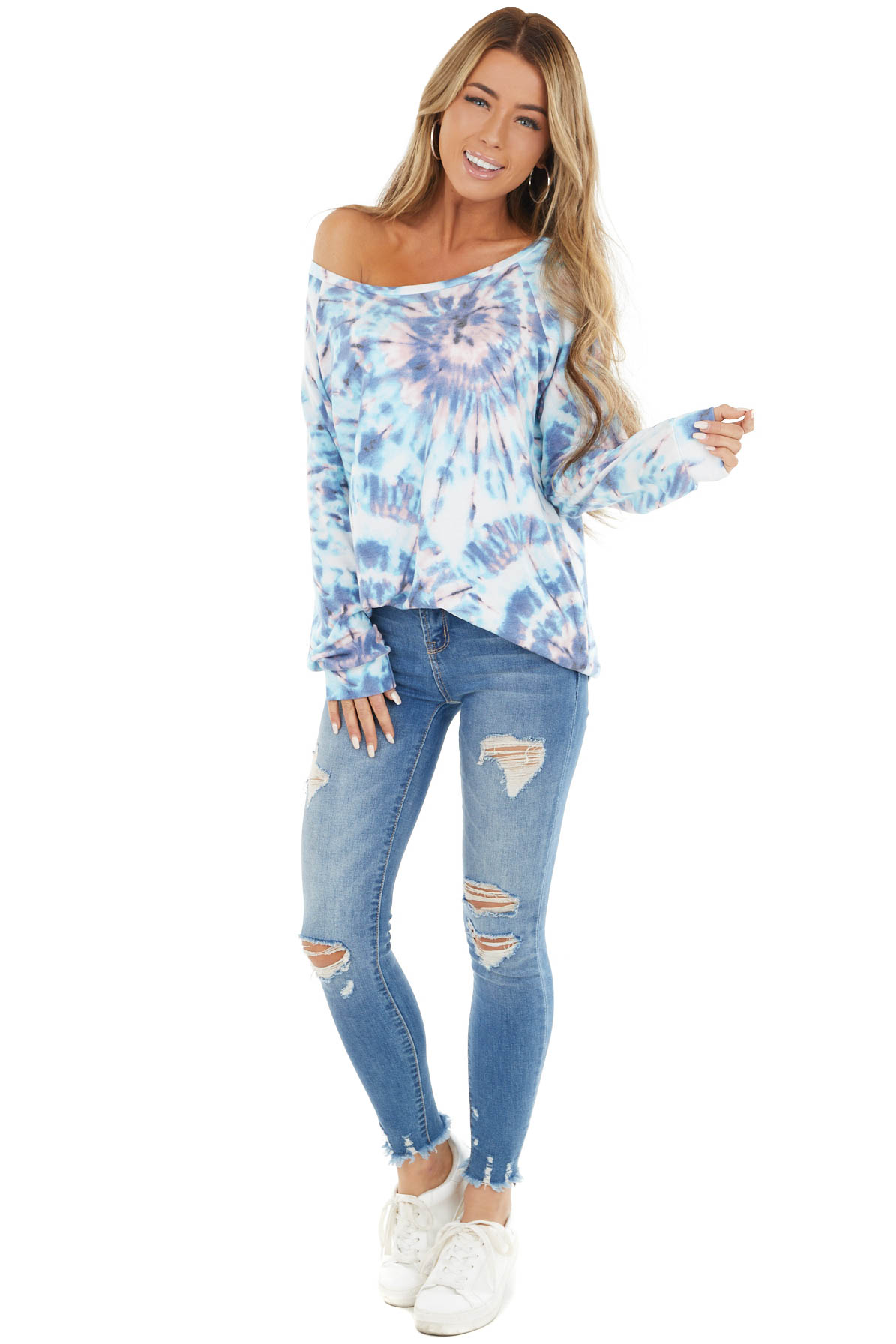 Teal And Dusty Blue Tie Dye Pullover Top With Long Sleeves