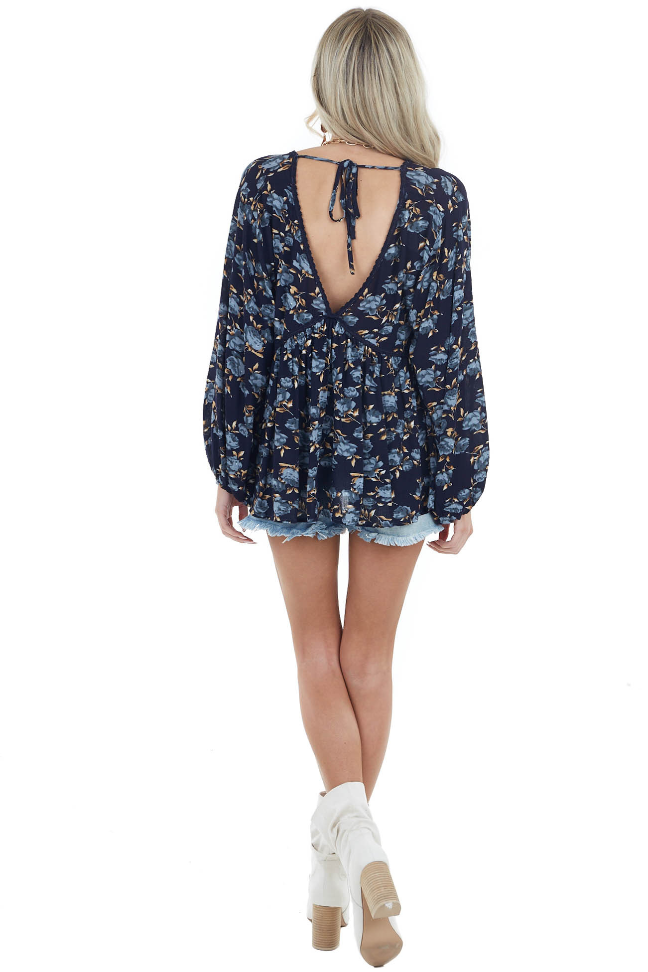 Navy Blue Floral Print Long Sleeve V Neck Woven Blouse