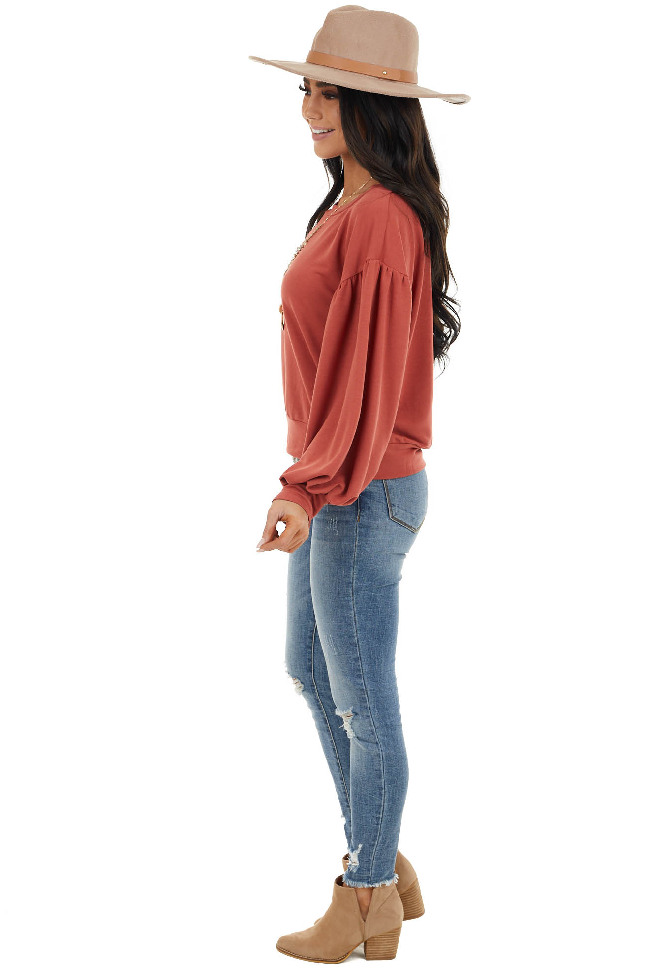 Rust Lantern Sleeve French Terry Pullover Top
