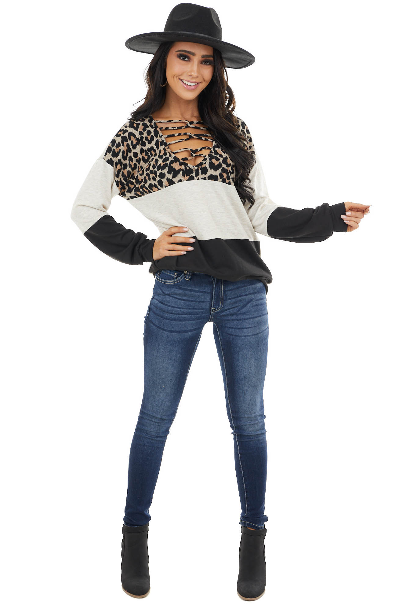 Black Leopard Print Colorblock Top With Caged Neckline