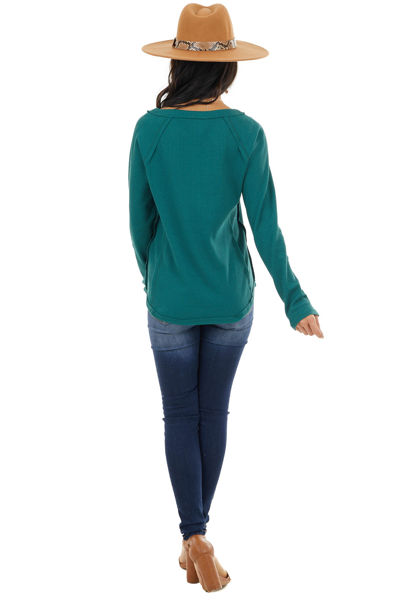 Forest Green Waffle Knit Henley Top with Raw Edge Details