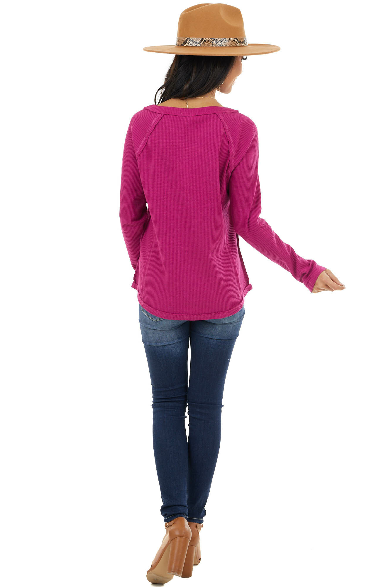 Magenta Waffle Knit Henley Top with Raw Edge Details