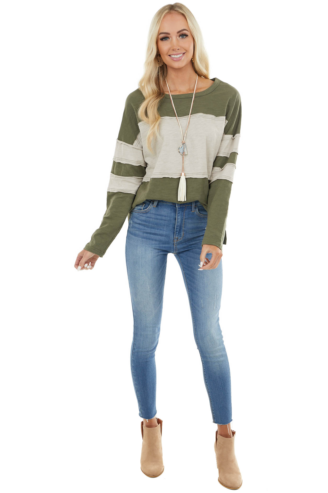 Olive and Oatmeal Colorblock Top with Raw Edge Details