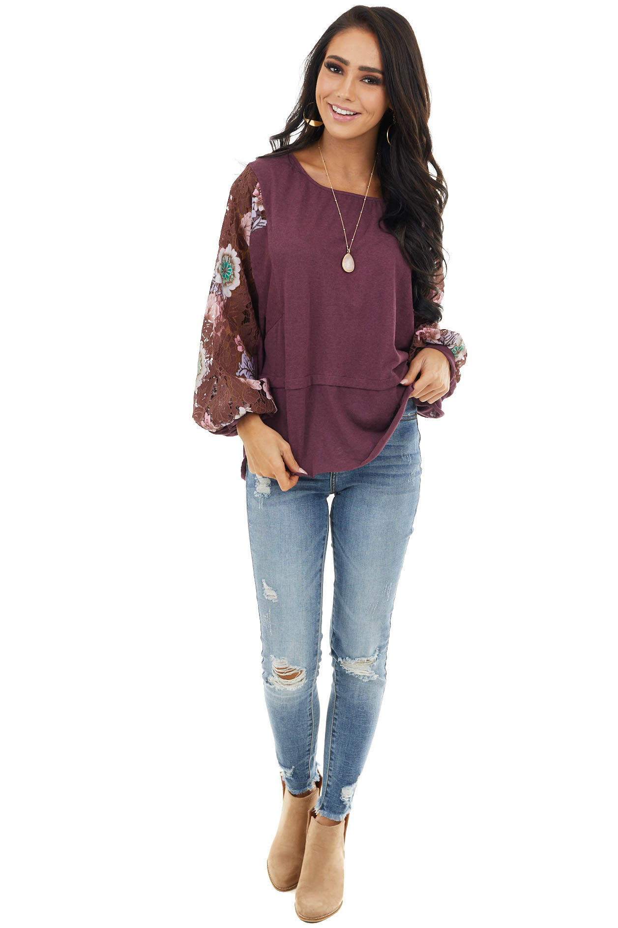 Plum Round Neck Knit Top with Floral Lace Long Sleeves