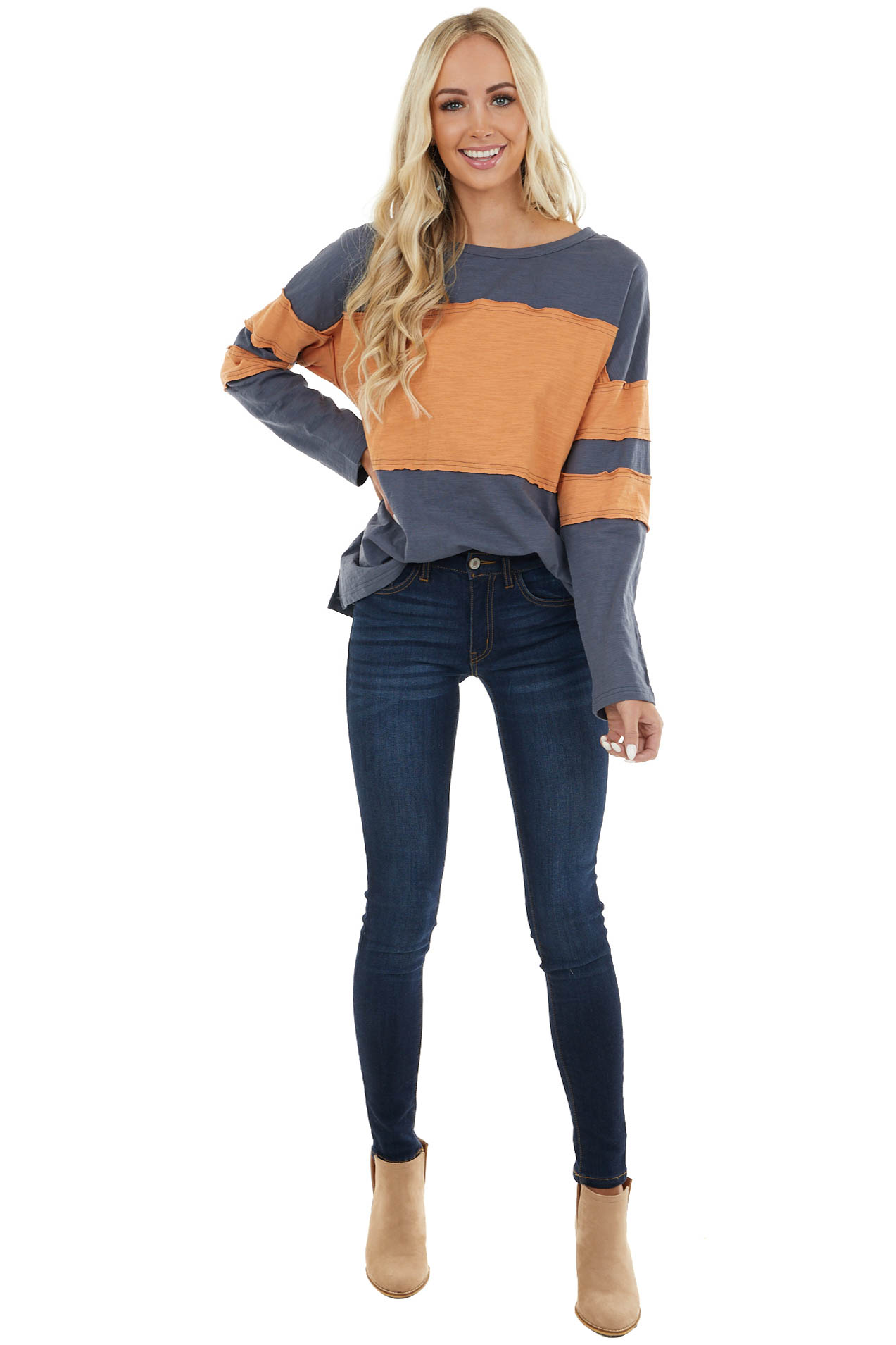 Navy and Mango Colorblock Top with Raw Edge Details