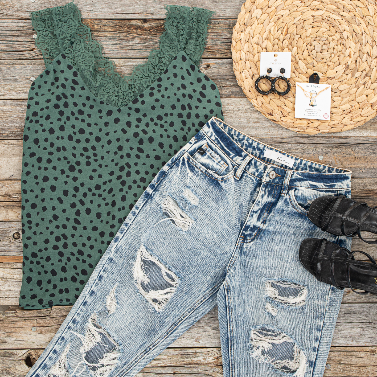 Pine Green Cheetah Print V Neck Tank Top with Lace Details