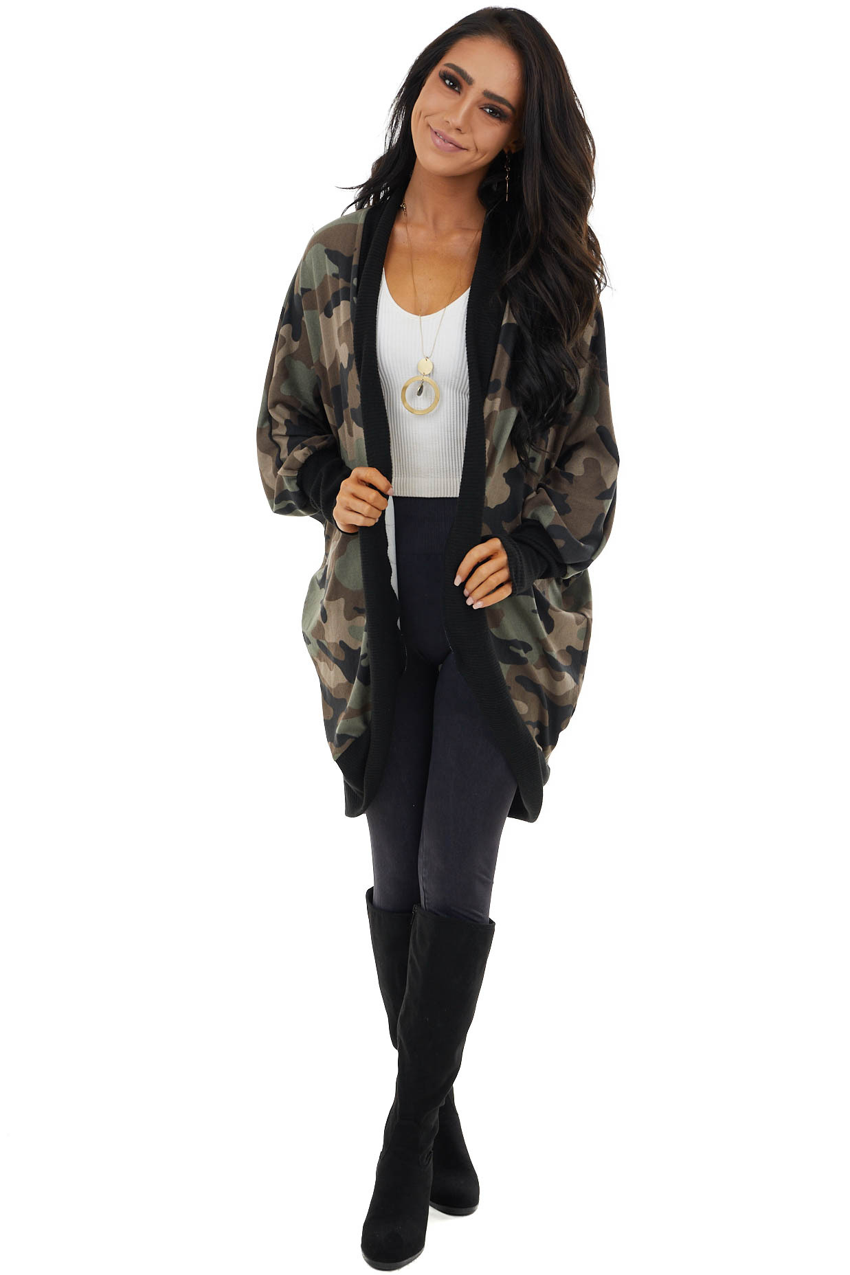 Army Green Camo Knit Open Front Cardigan with Cocoon Hemline