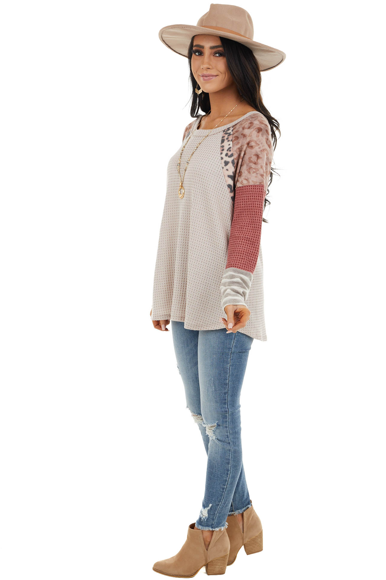 Latte Waffle Knit Top with Contrast Multiprint Long Sleeves