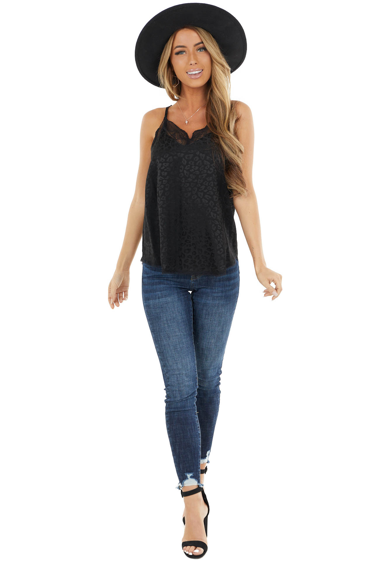 Black Leopard Print Silky Camisole Tank Top with Lace Detail