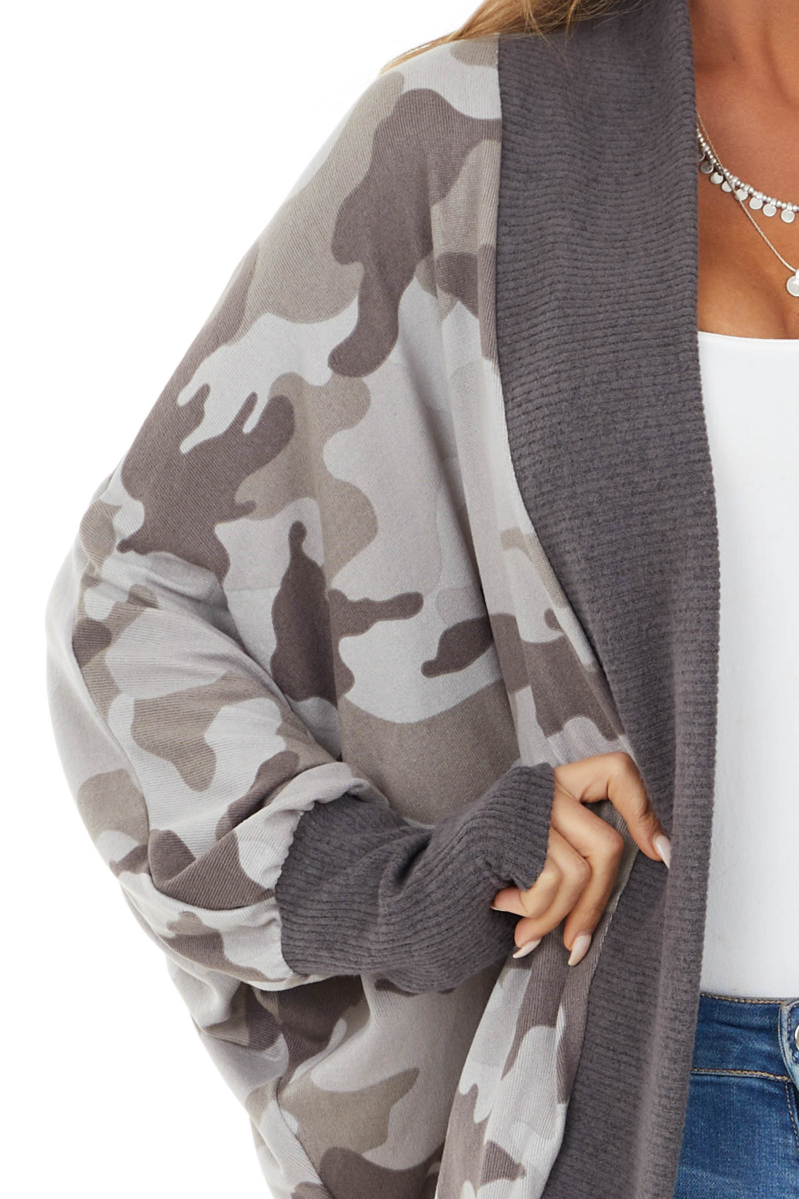 Army Grey Camo Knit Open Front Cardigan with Cocoon Hemline