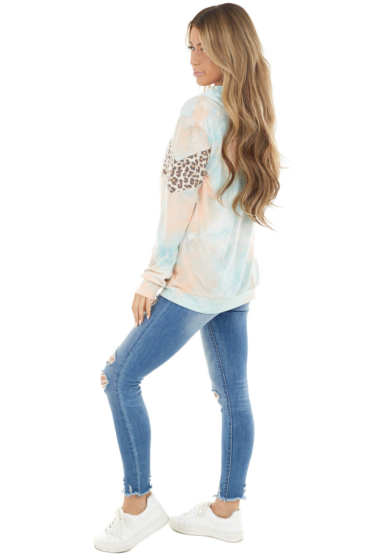 Peach and Baby Blue Tie Dye Hoodie with Leopard Print Detail