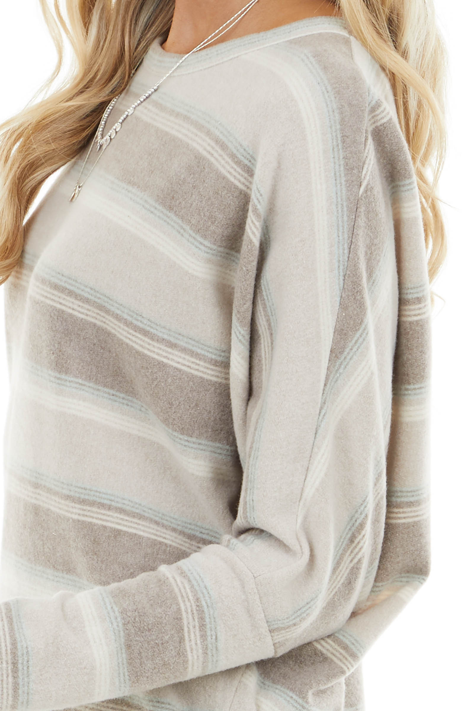 Taupe and Sky Blue Striped Soft Knit Top with Dolman Sleeves