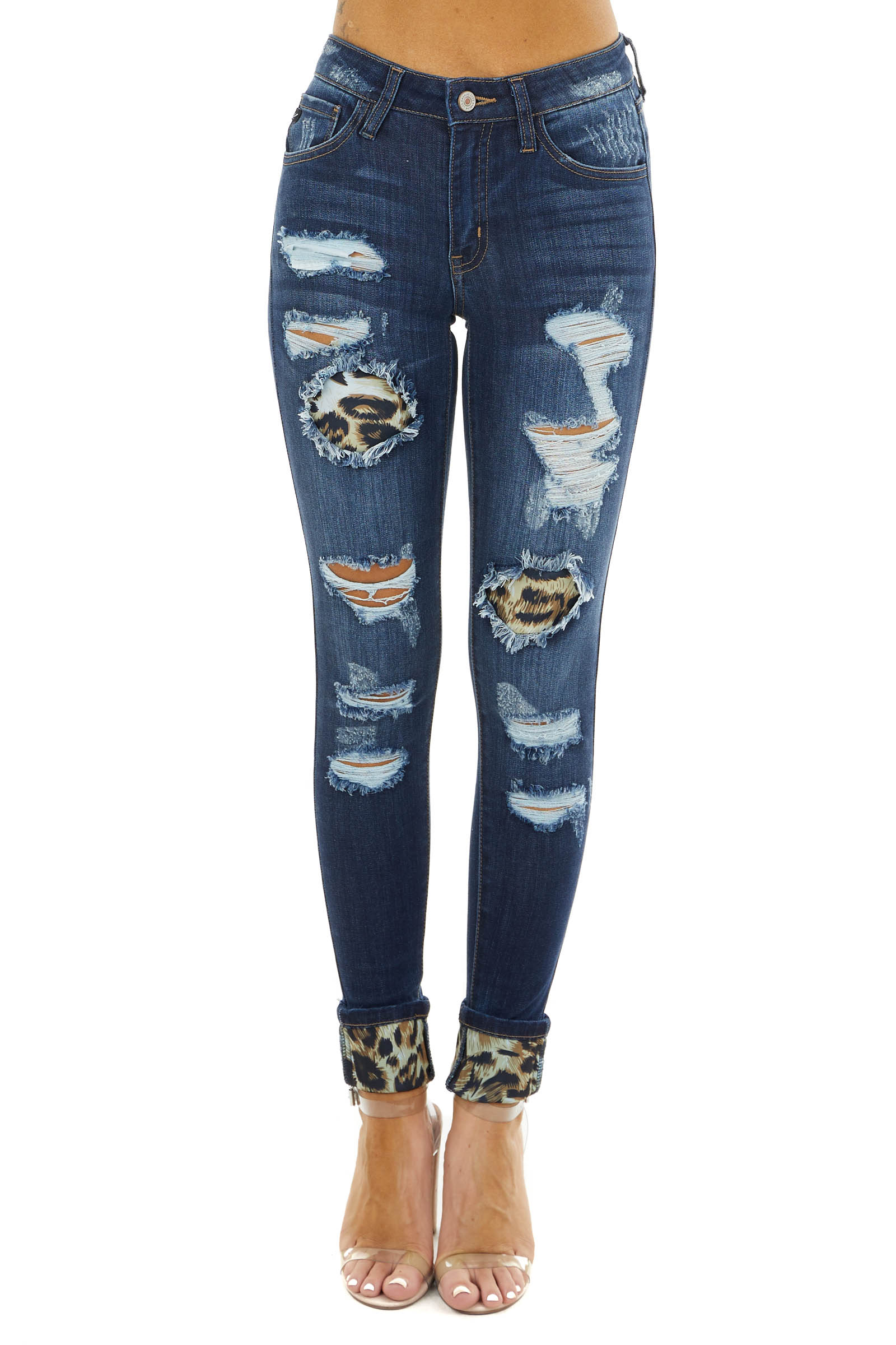 Dark Wash Mid Rise Ripped Skinny Jeans With Leopard Patches Lime Lush Boutique