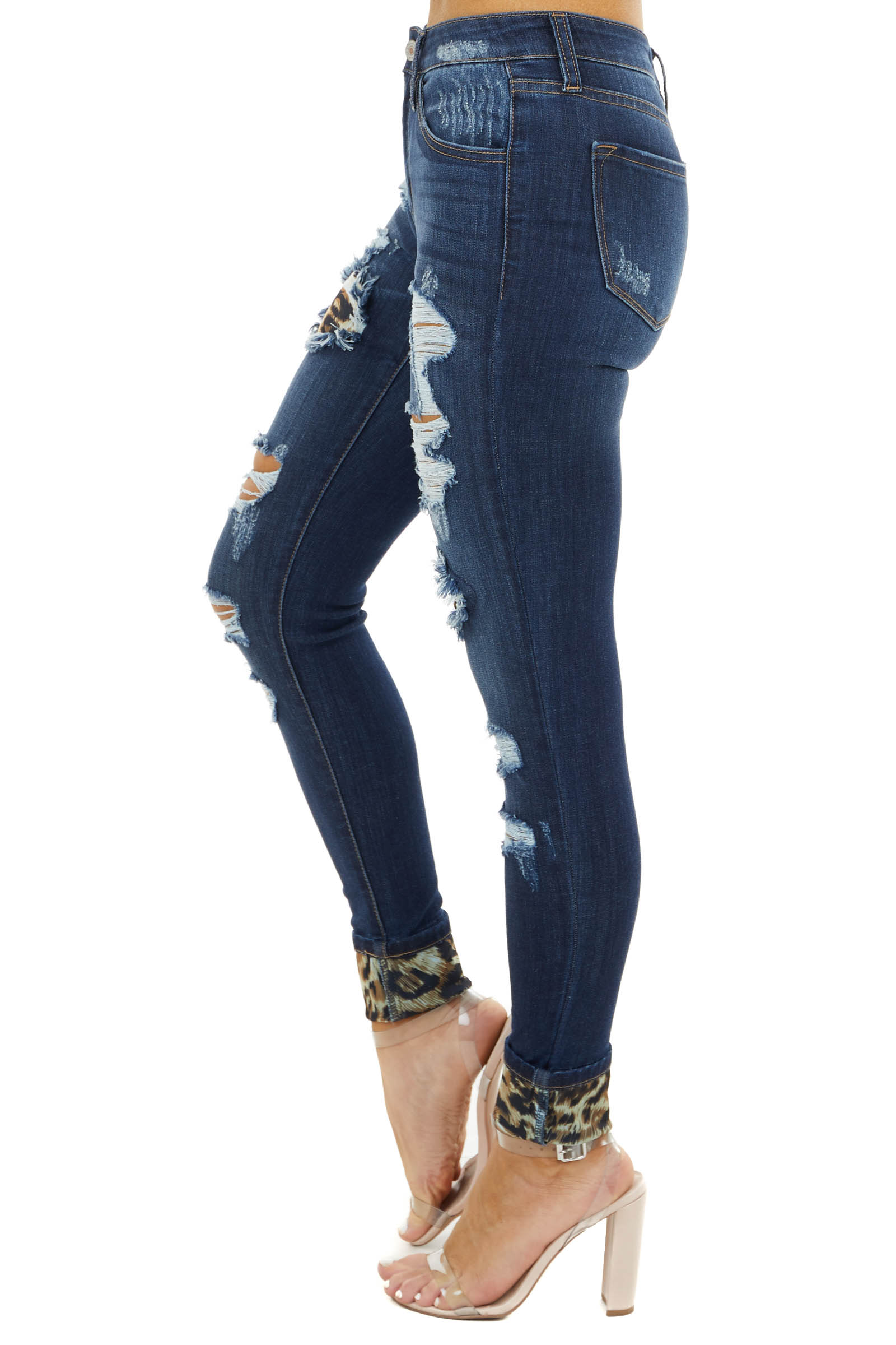 Dark Wash Mid Rise Ripped Skinny Jeans with Leopard Patches