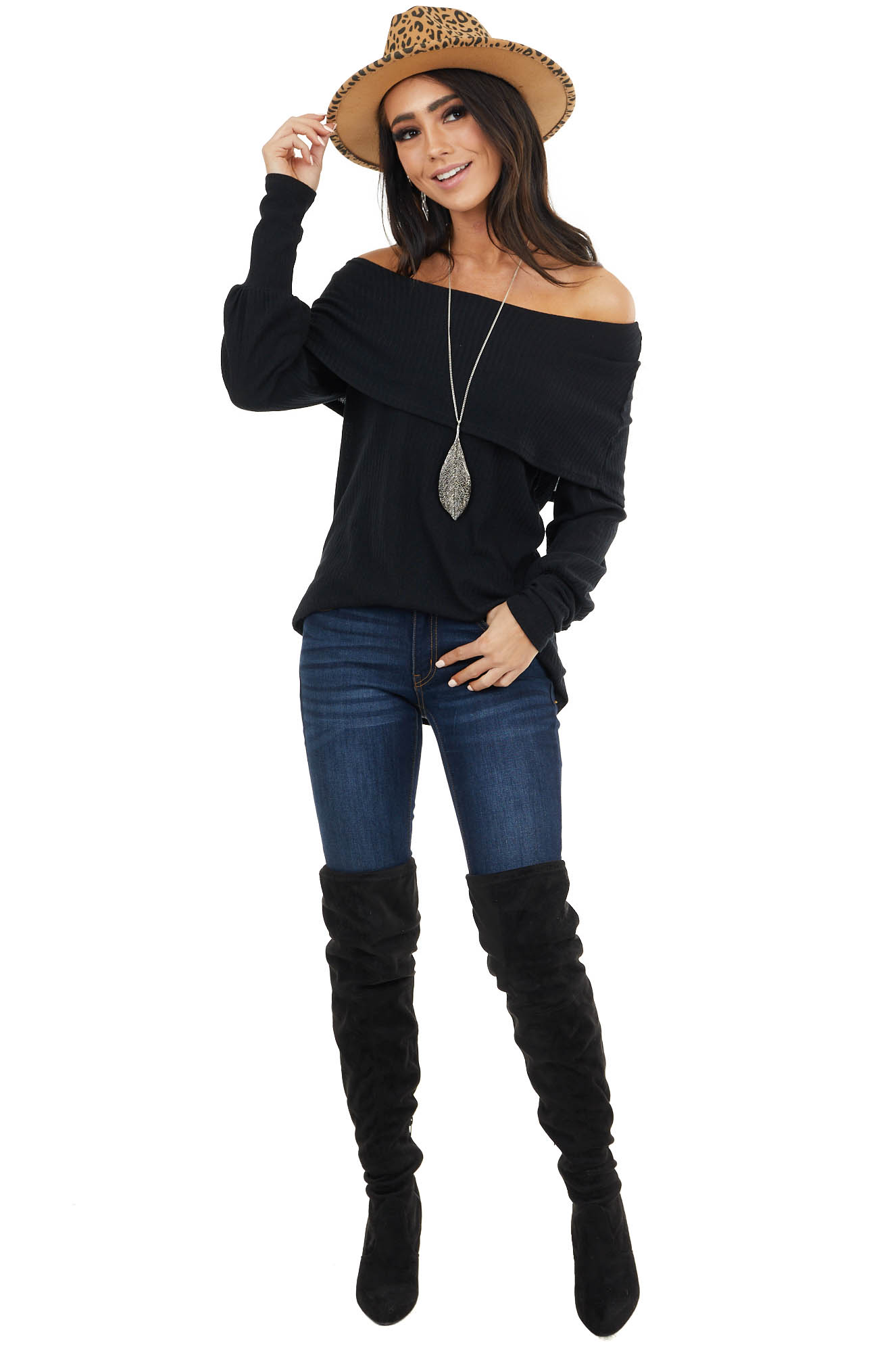 Black Folded Off Shoulder Ribbed Knit Top with Long Cuffs