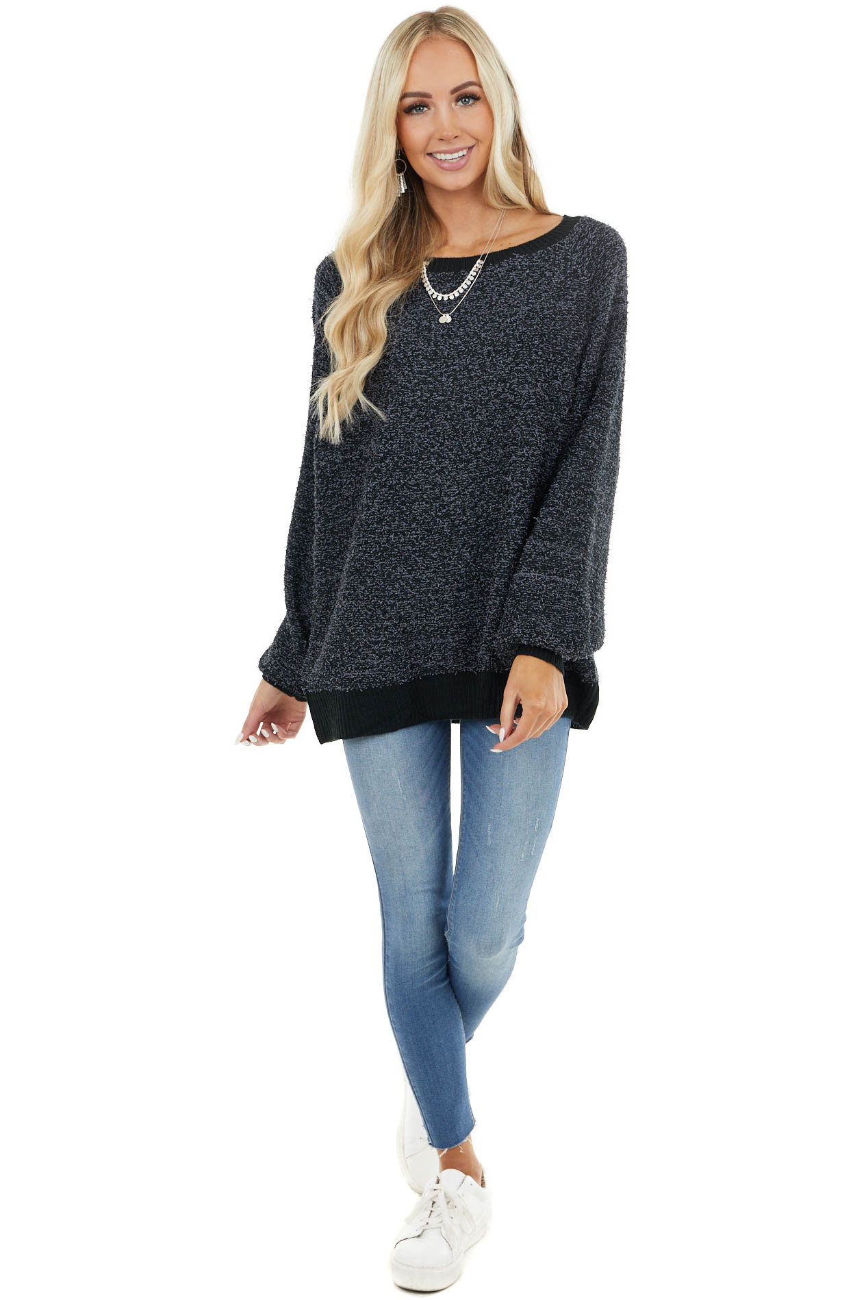 Charcoal Speckled Knit Pullover Sweater with Bubble Sleeves