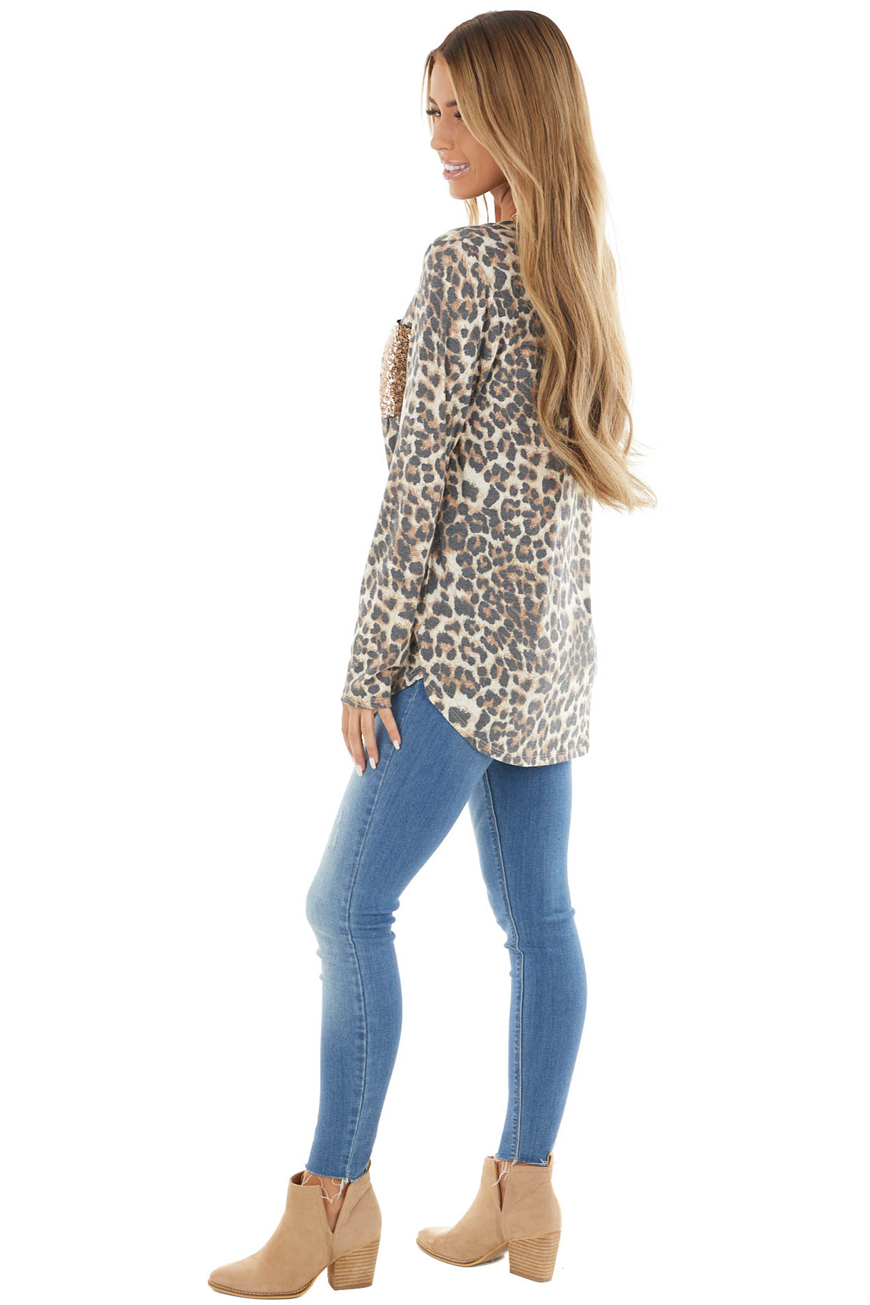 Charcoal Leopard Print Long Sleeve Top with Sequins Detail