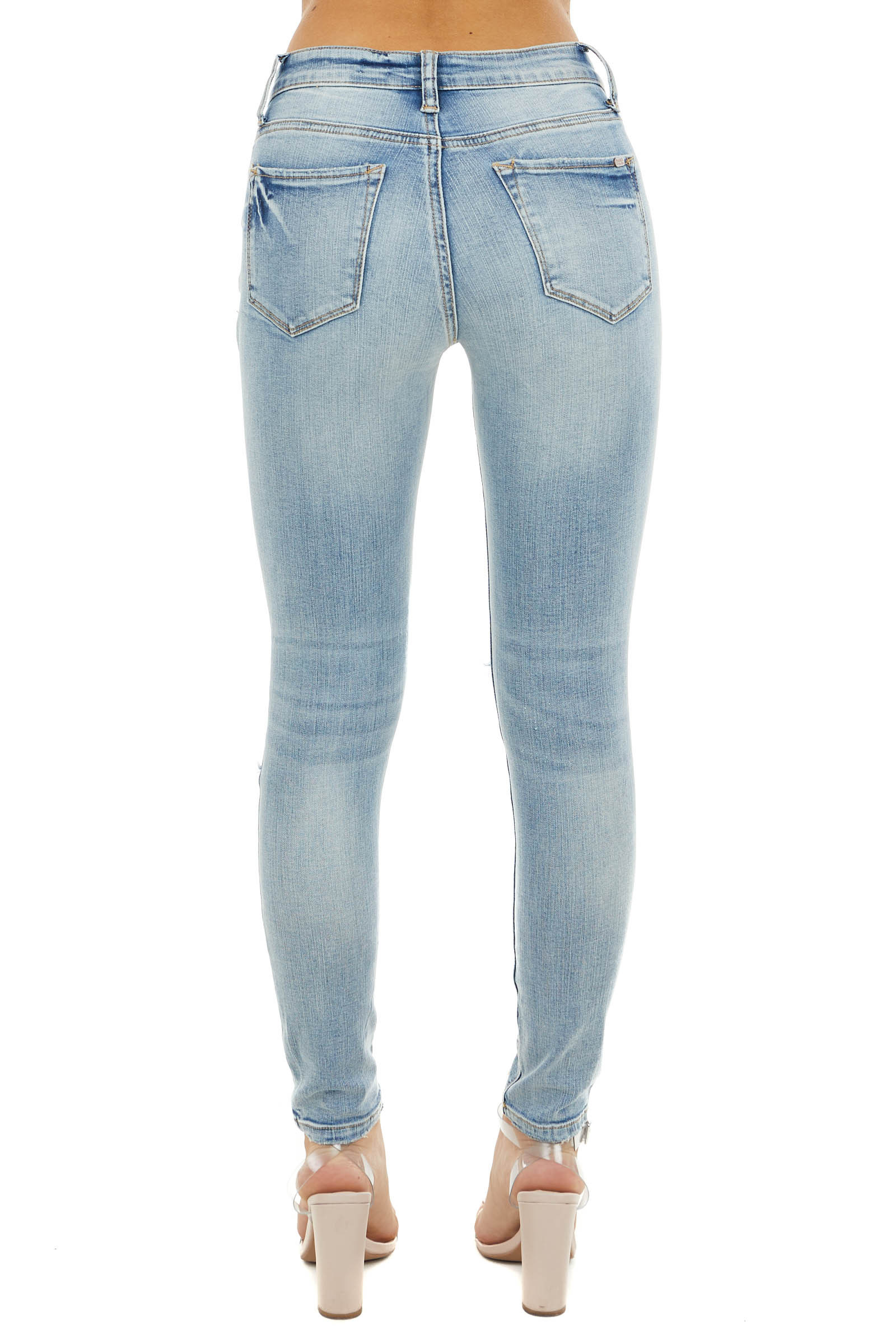 Light Wash Mid Rise Distressed Skinny Jeans