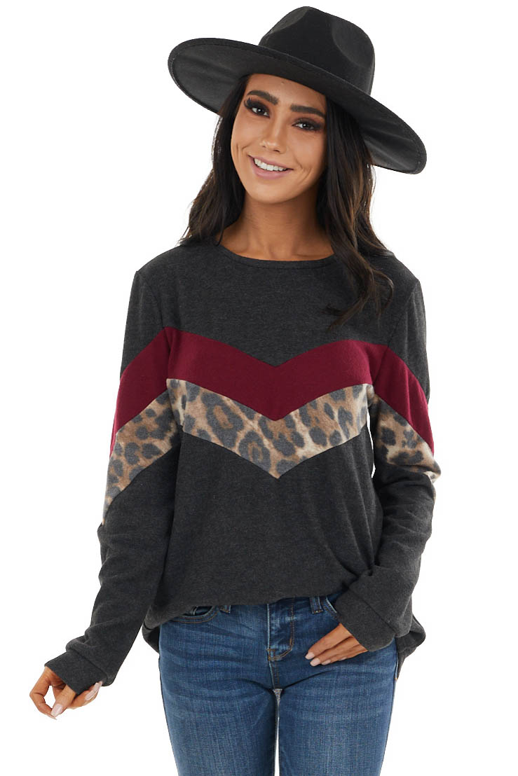 Charcoal Chevron Knit Top with Leopard Print Contrast