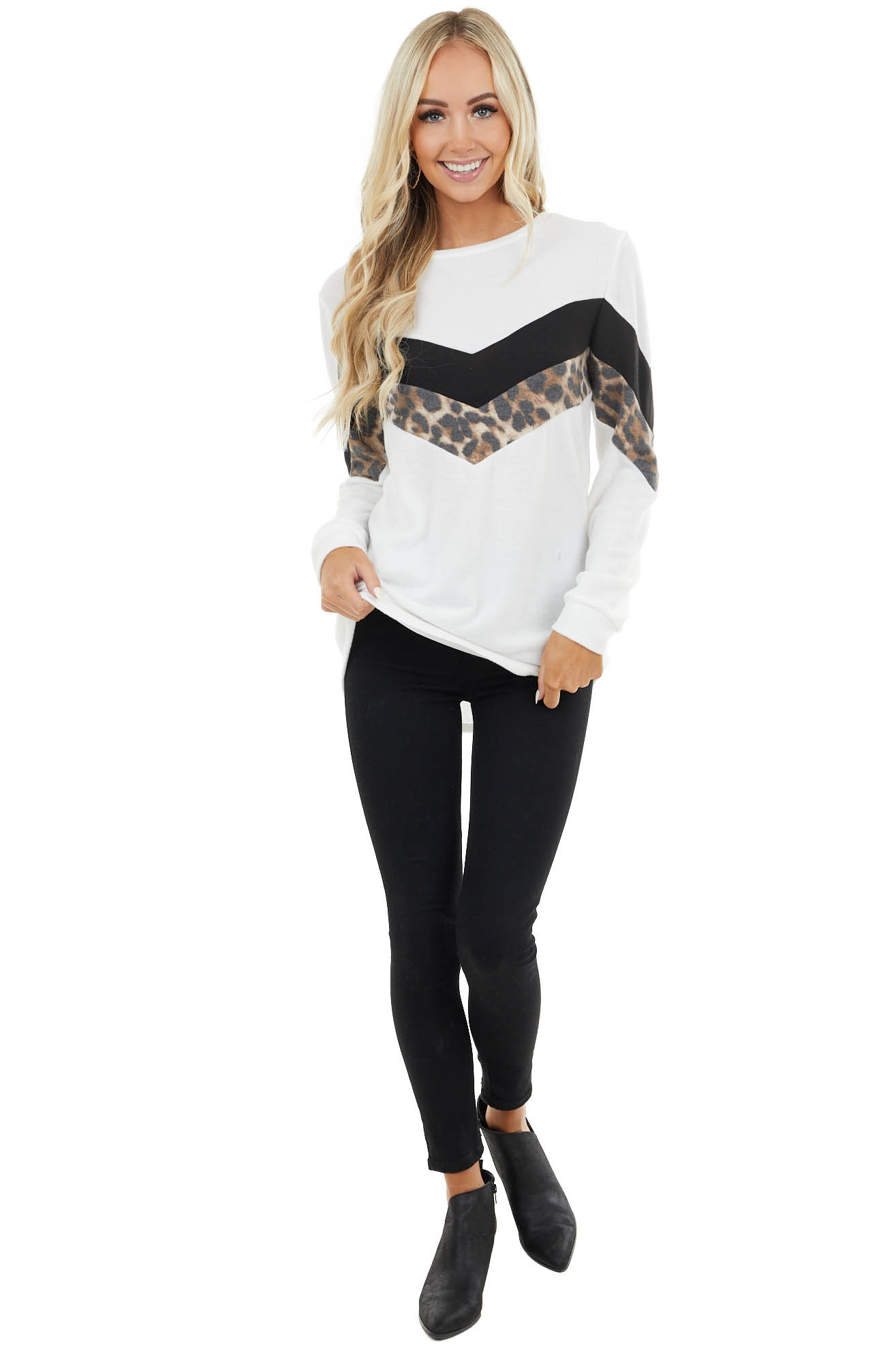 White Chevron Knit Top with Leopard Print Contrast