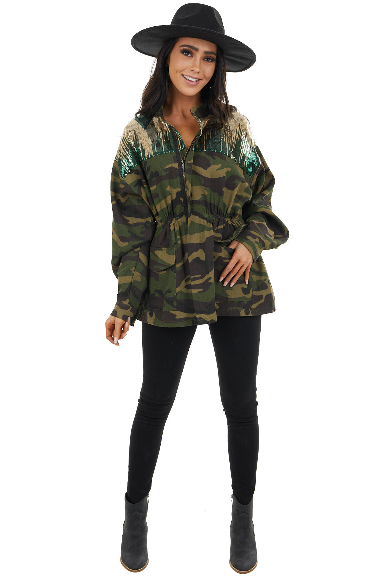 Forest Green Camo Utility Jacket with Sequins and Embroidery