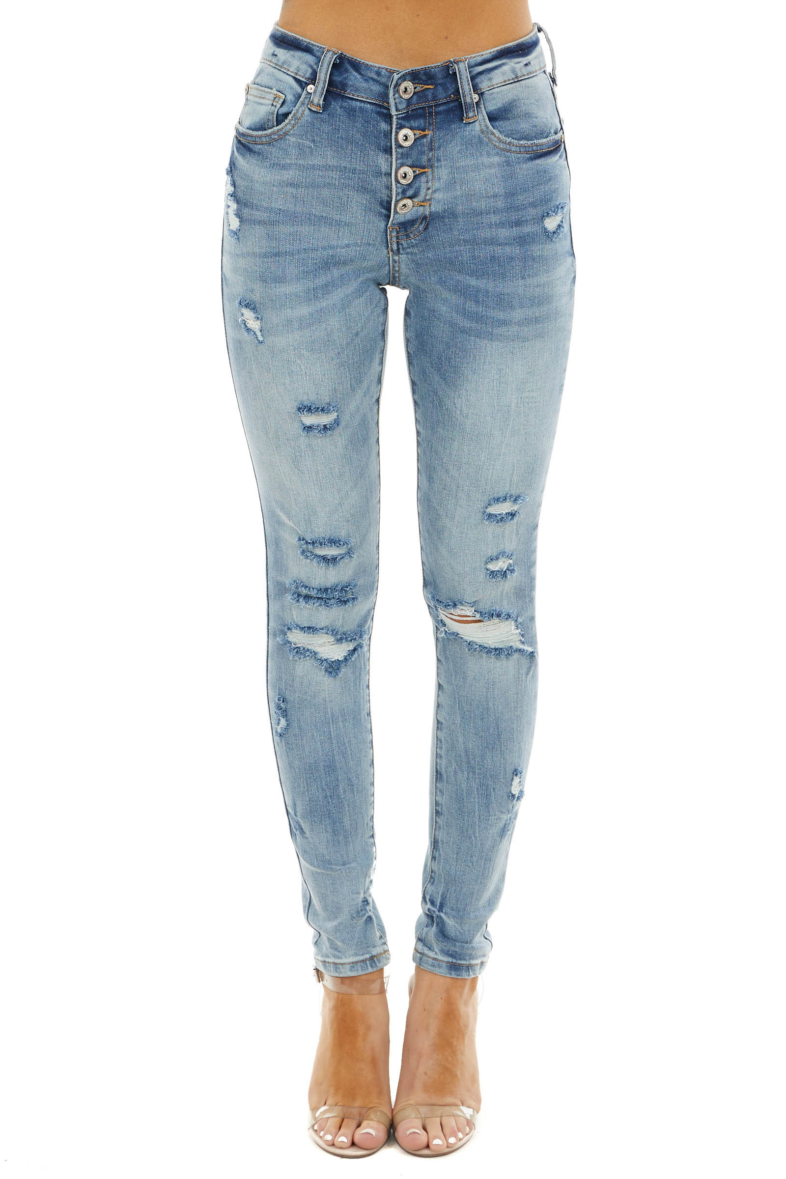 Medium Wash Distressed Mid Rise Button Up Skinny Jeans