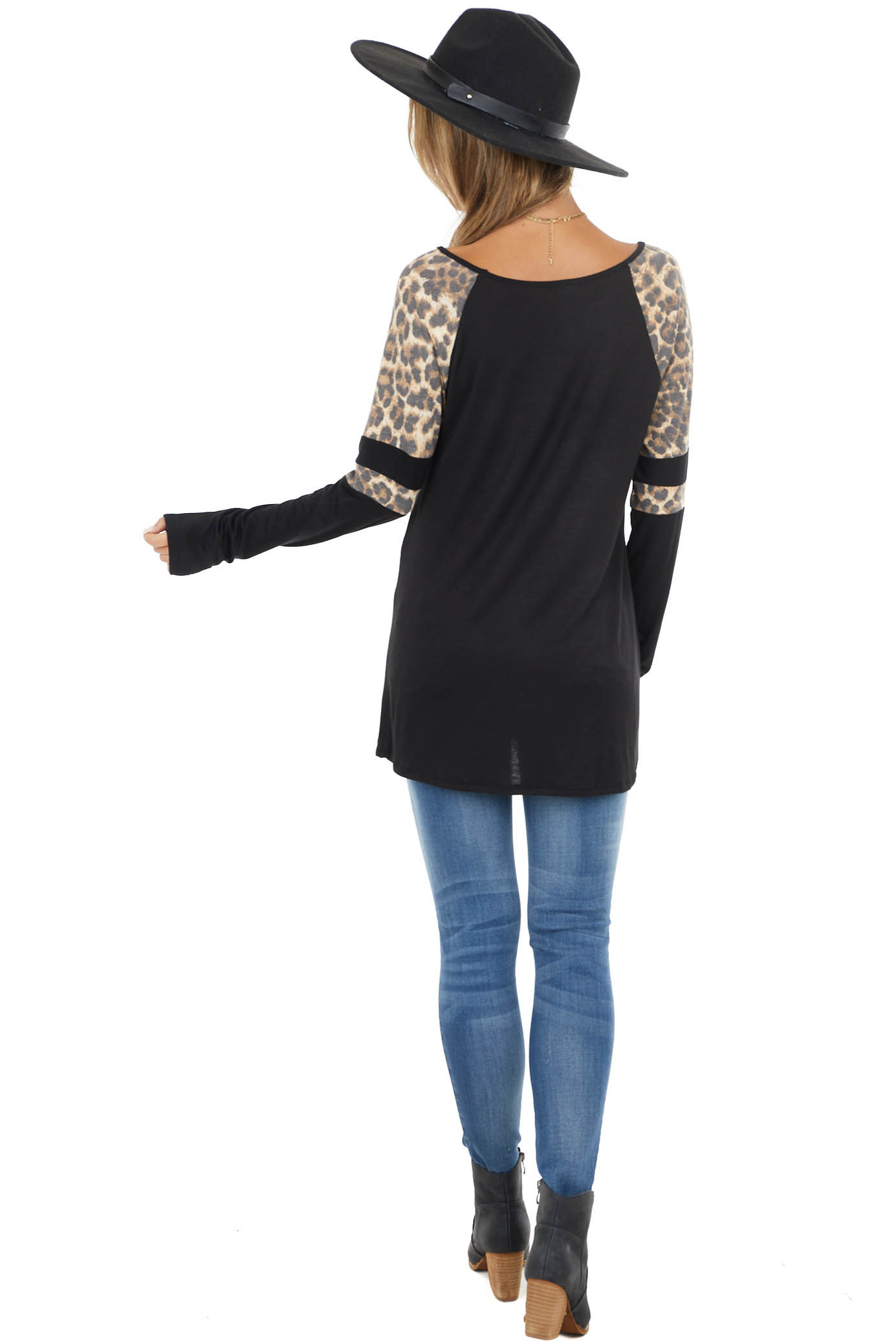 Black Stretchy Knit Top with Raglan Leopard Print Sleeves