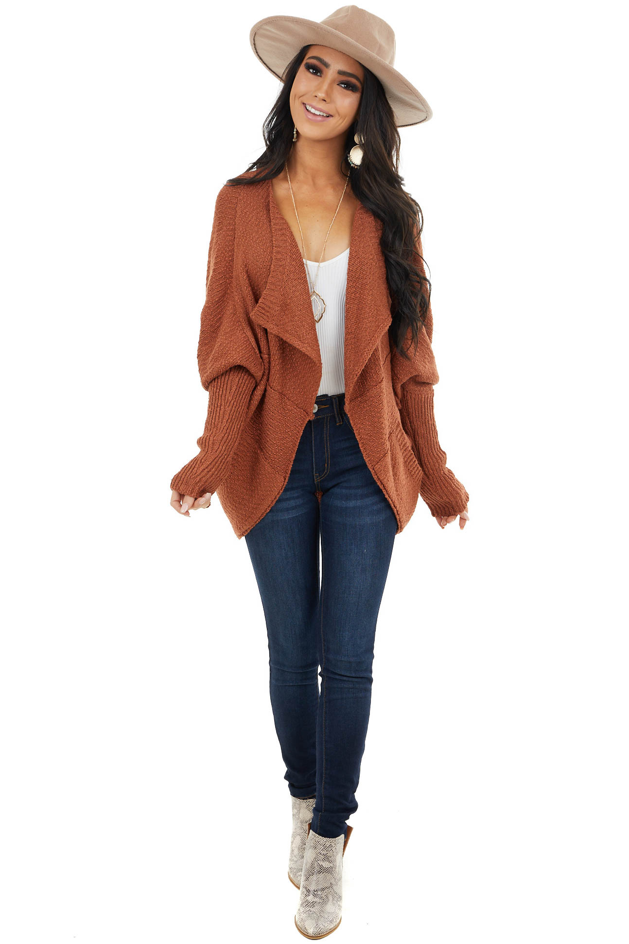 Ginger Open Front Cardigan with Long Dolman Sleeves